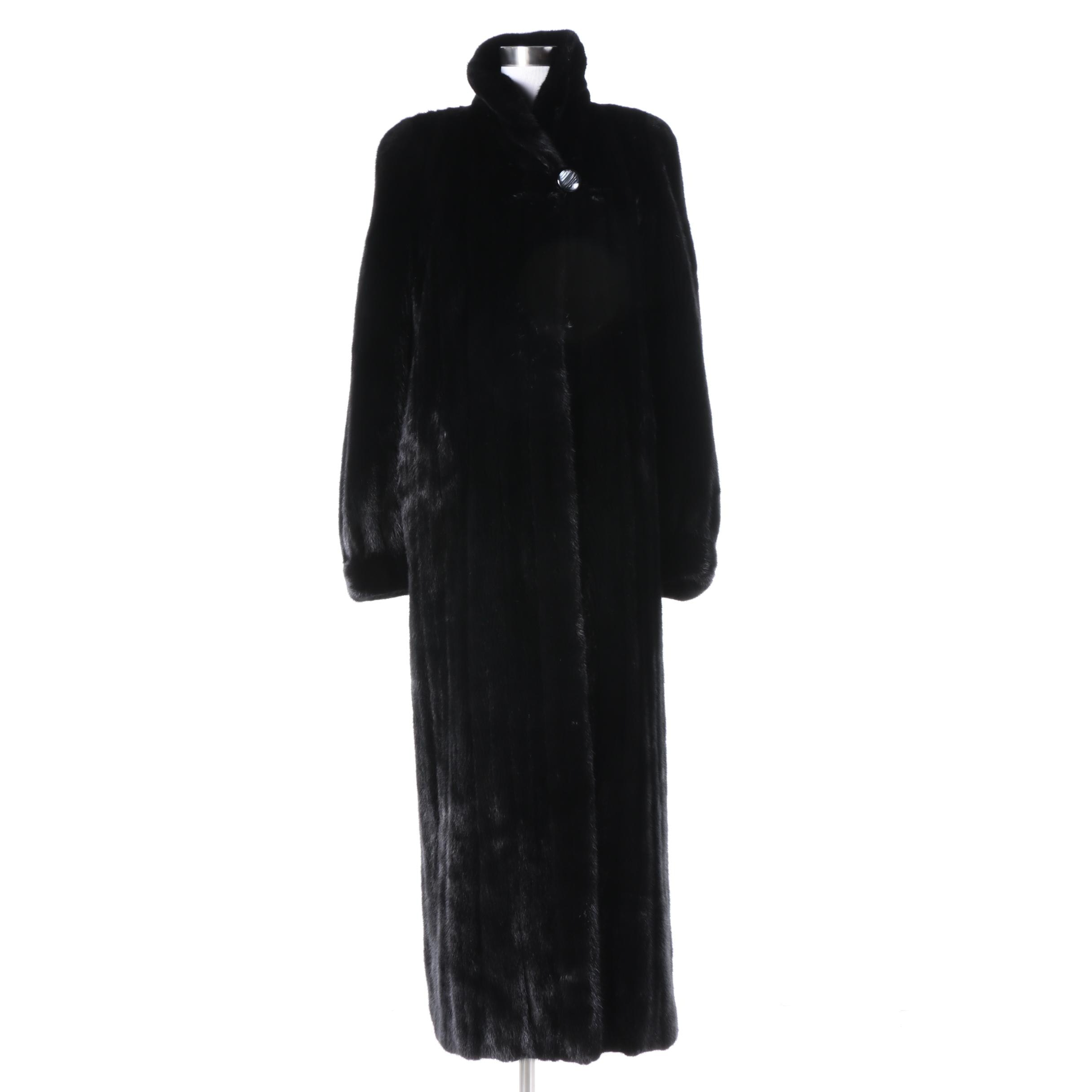 Women's Henig Furs Full-Length Black Mink Fur Coat