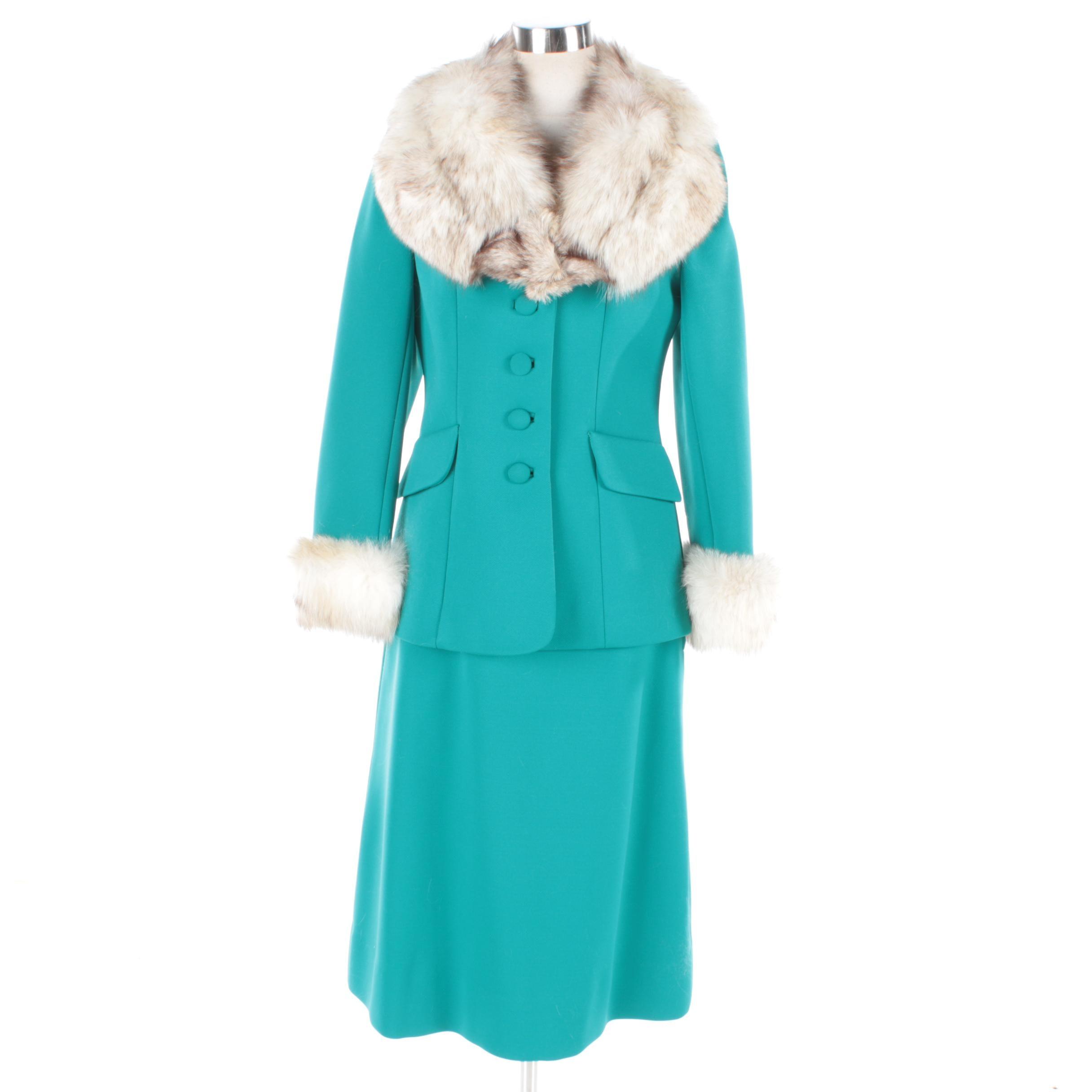 1960s Vintage Lilli Ann Knit Skirt Suit with Fox Fur Trim