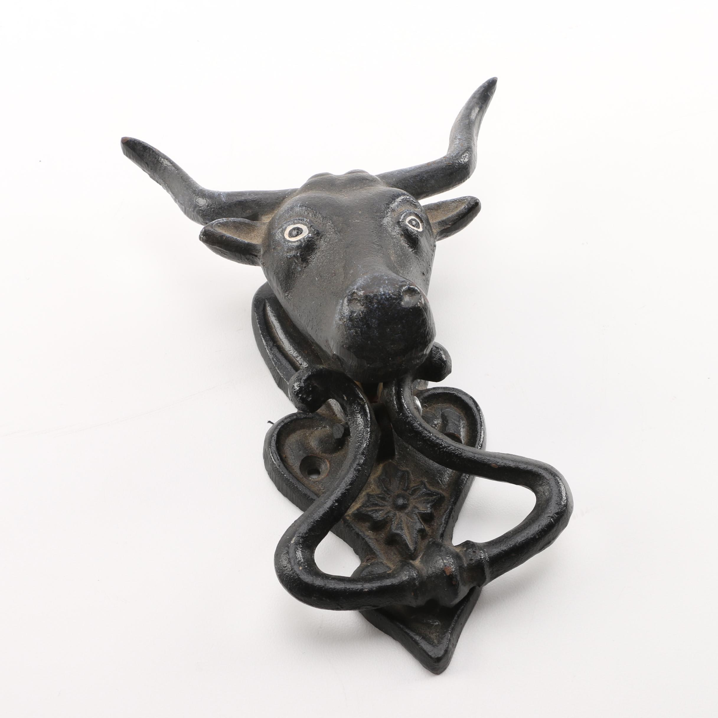 Black Metal Bull's Head Knocker