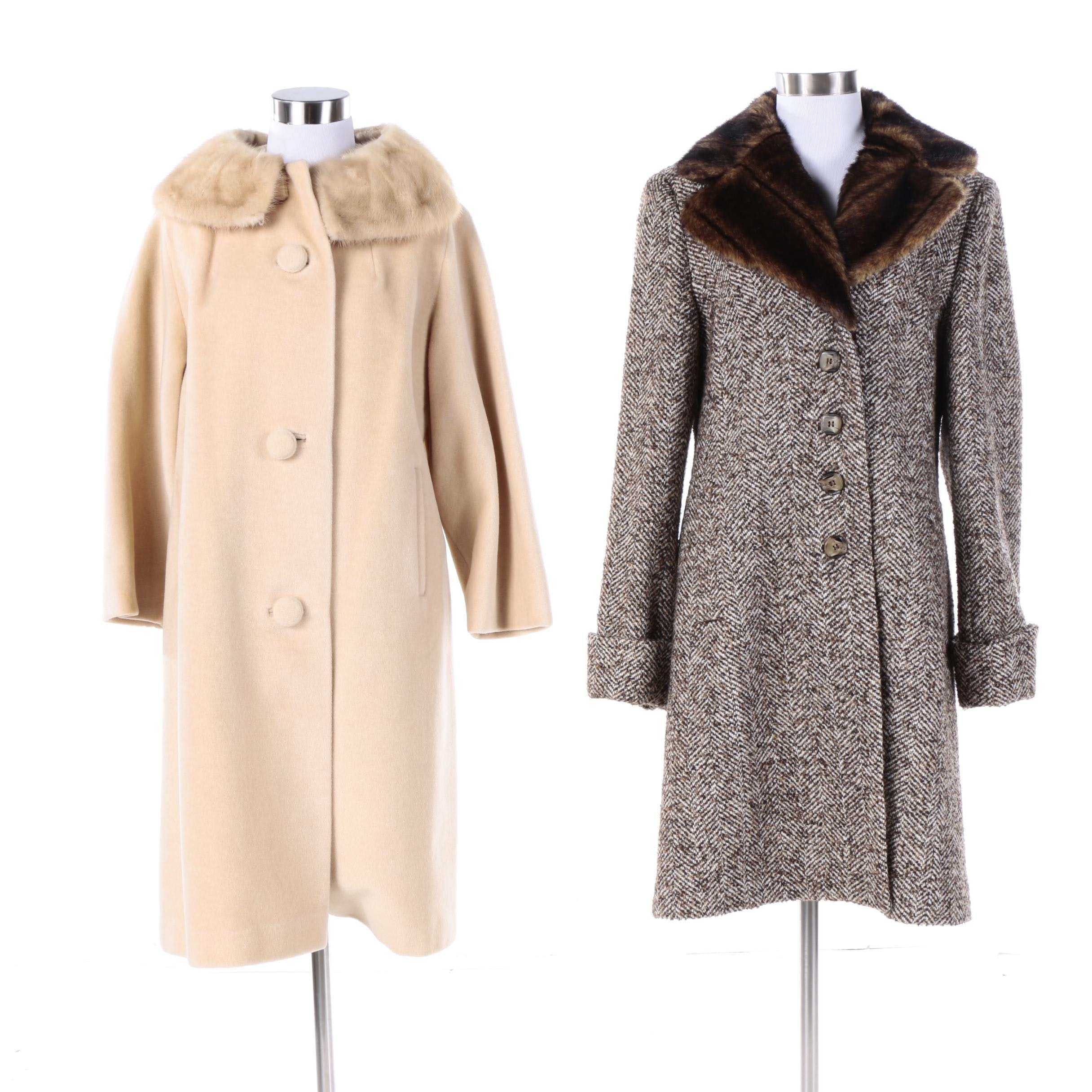 Women's Overcoats Including Mink Fur and Faux Fur Collars