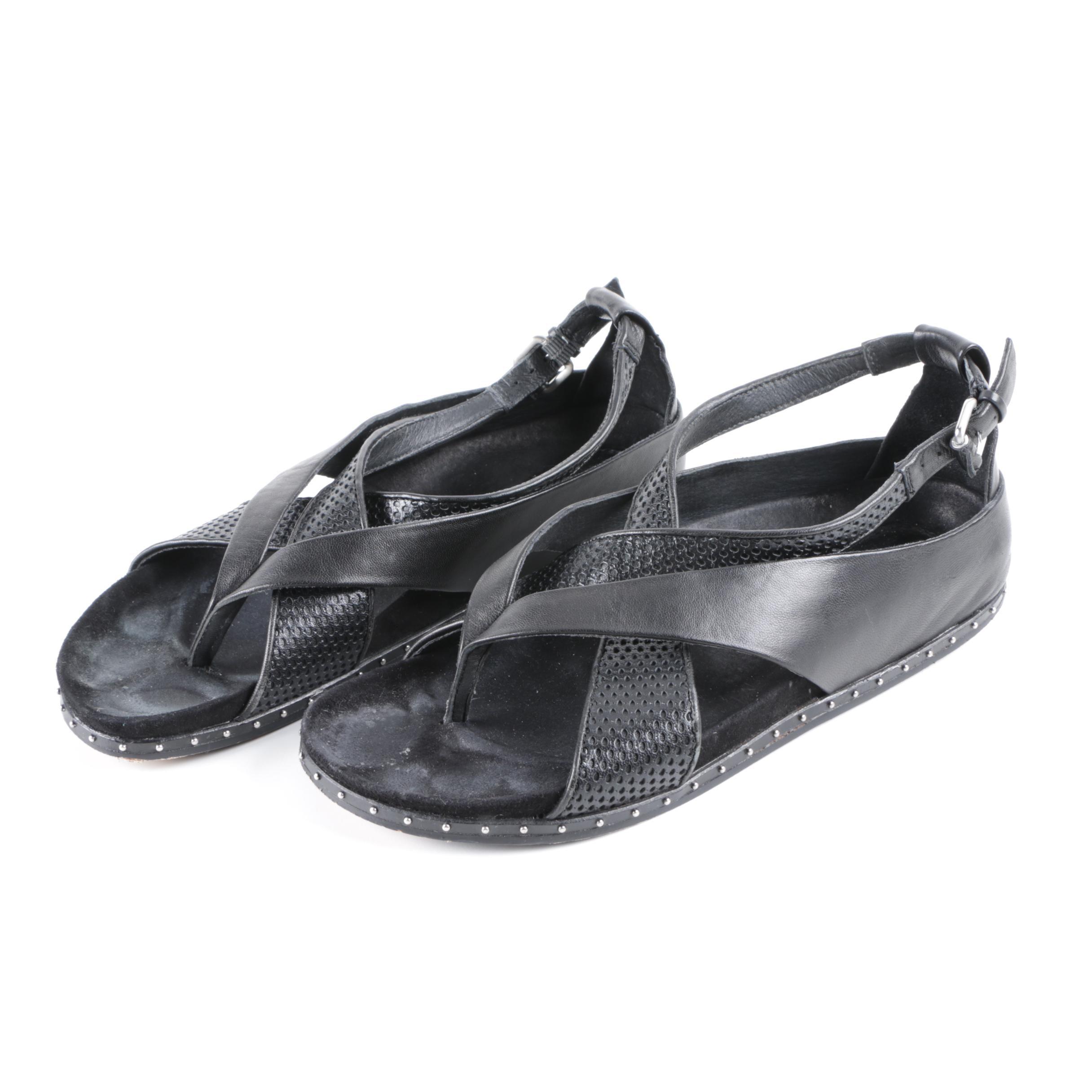 L.A.M.B. Black Leather Sandals with Perforated Accents