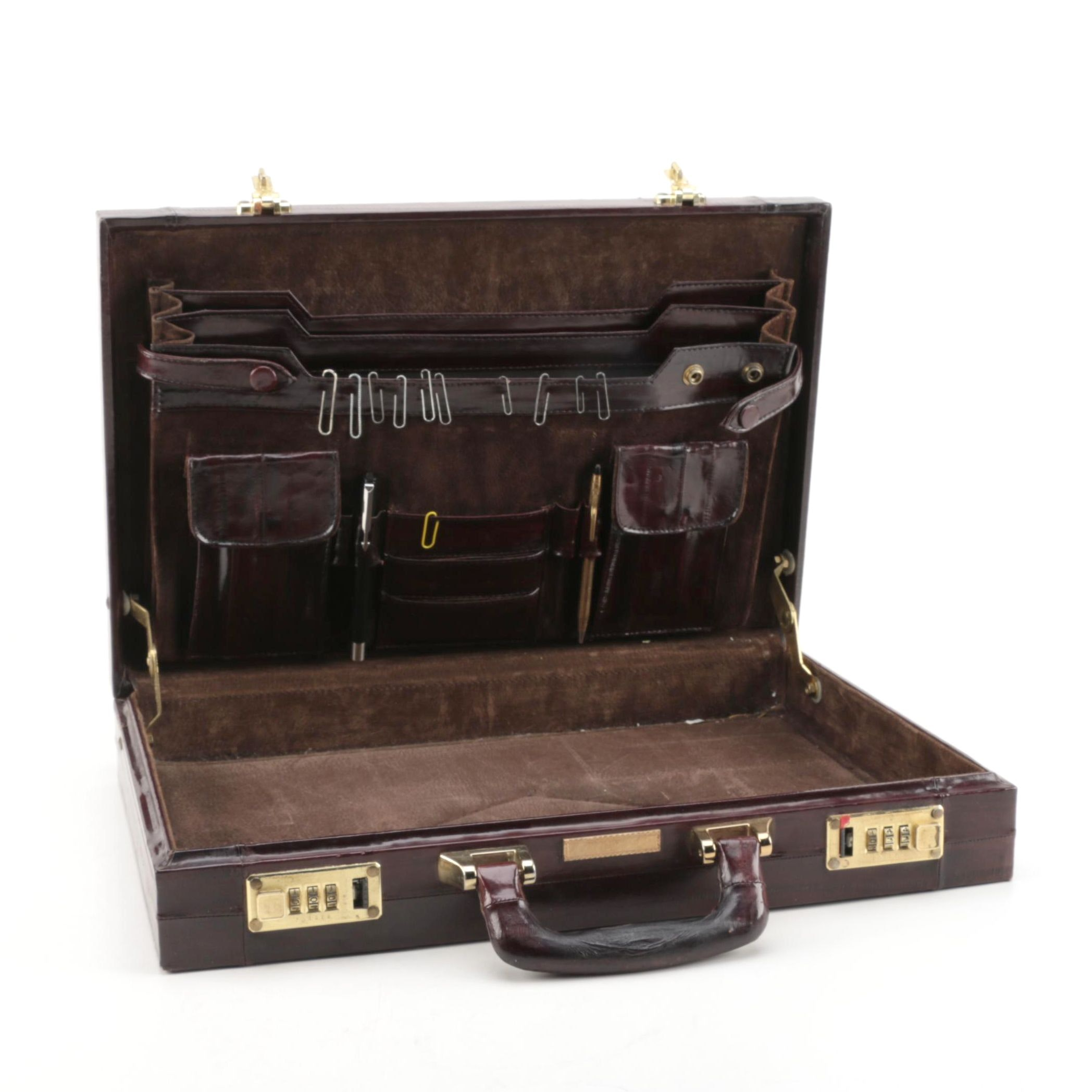 Eel Skin Leather Briefcase