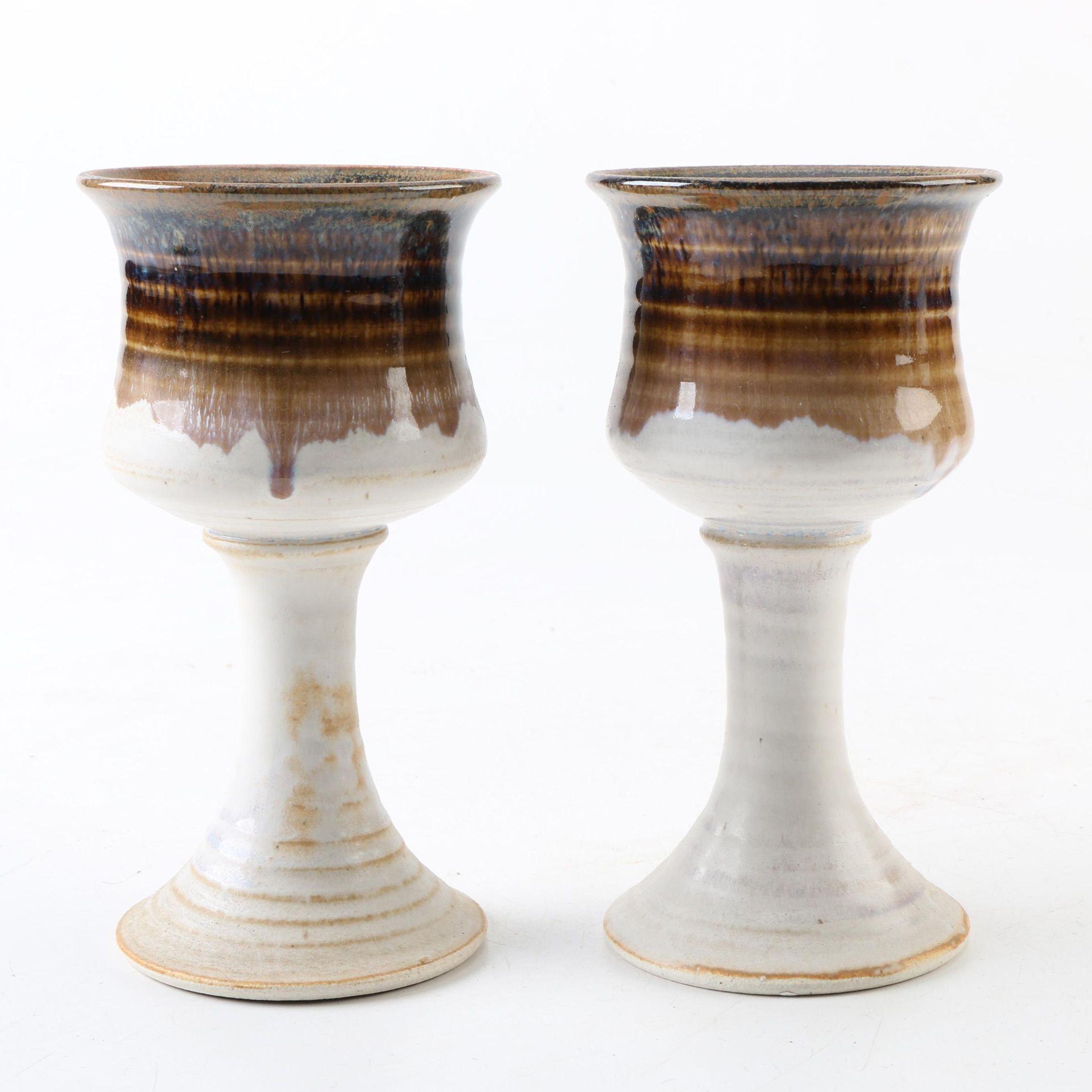 Studio Signed Stoneware Goblets