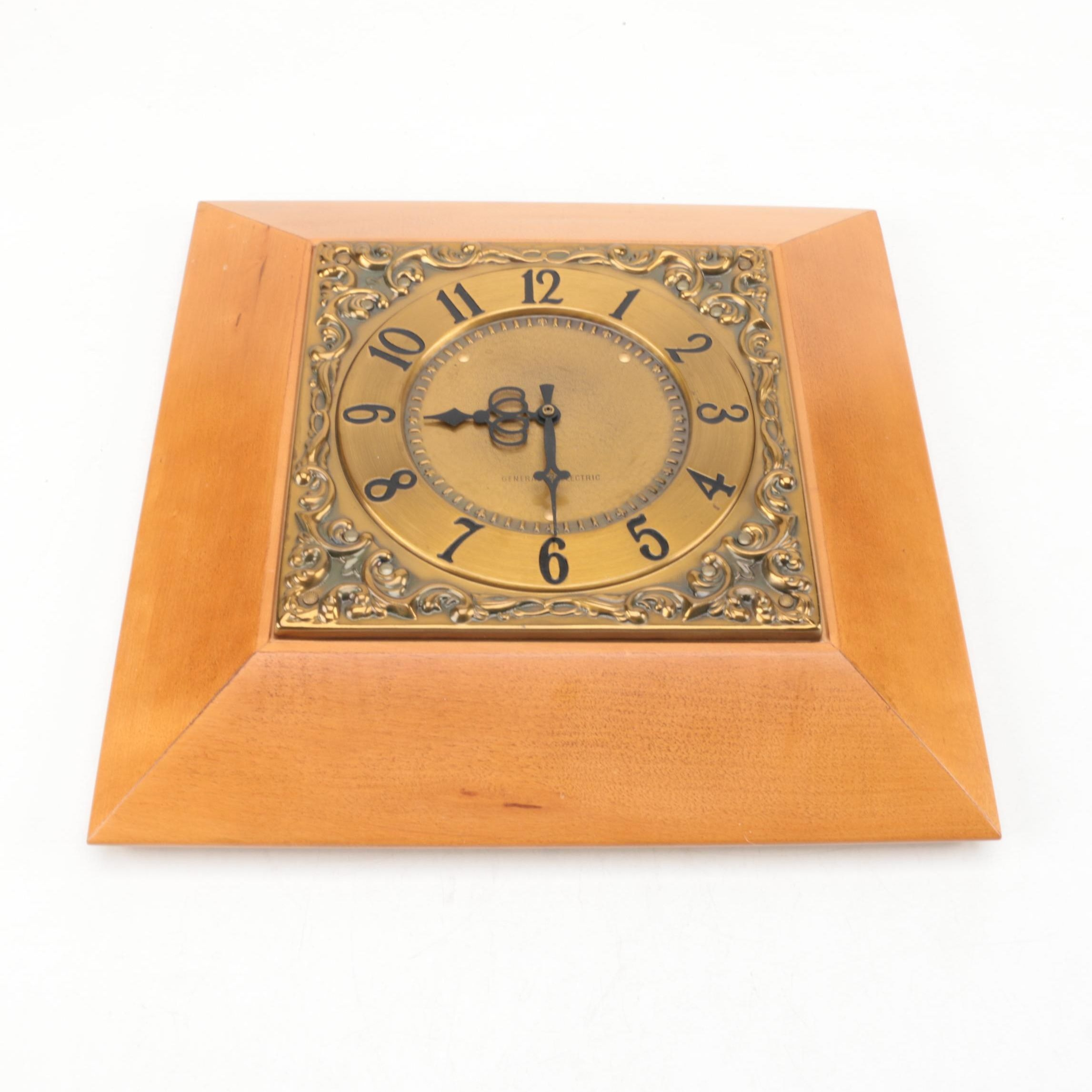 General Electric Mid Century Wooden Wall Clock