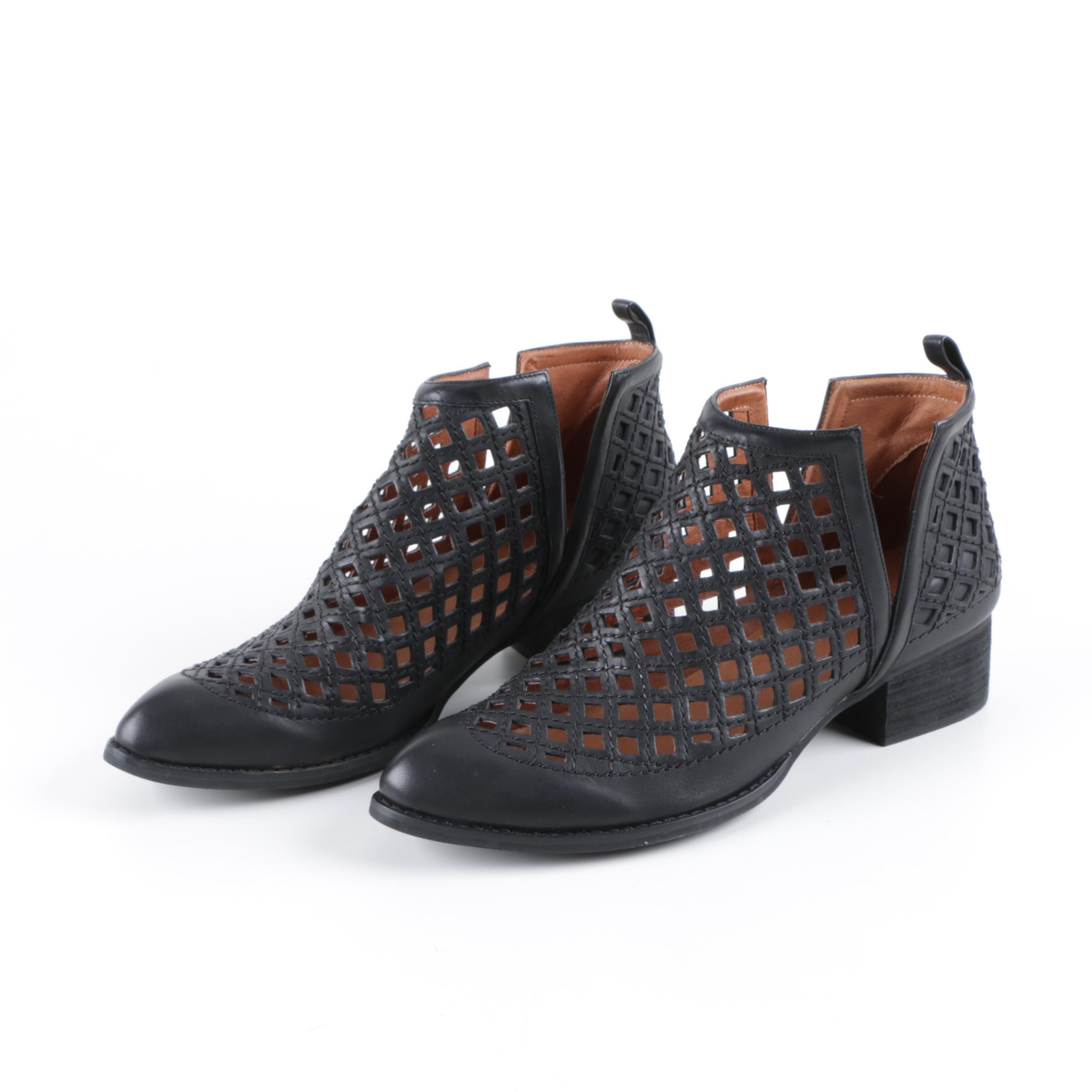 Jeffery Campbell Taggart Black Latticework Ankle Boots