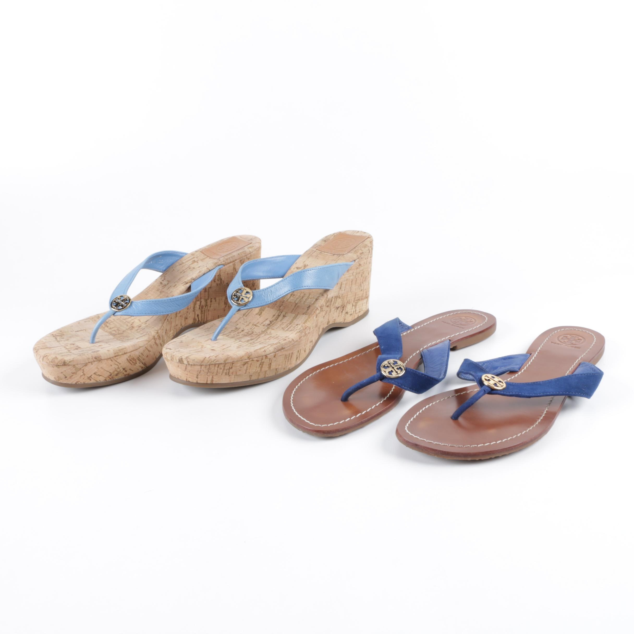 Tory Burch Leather and Suede Thong Sandals