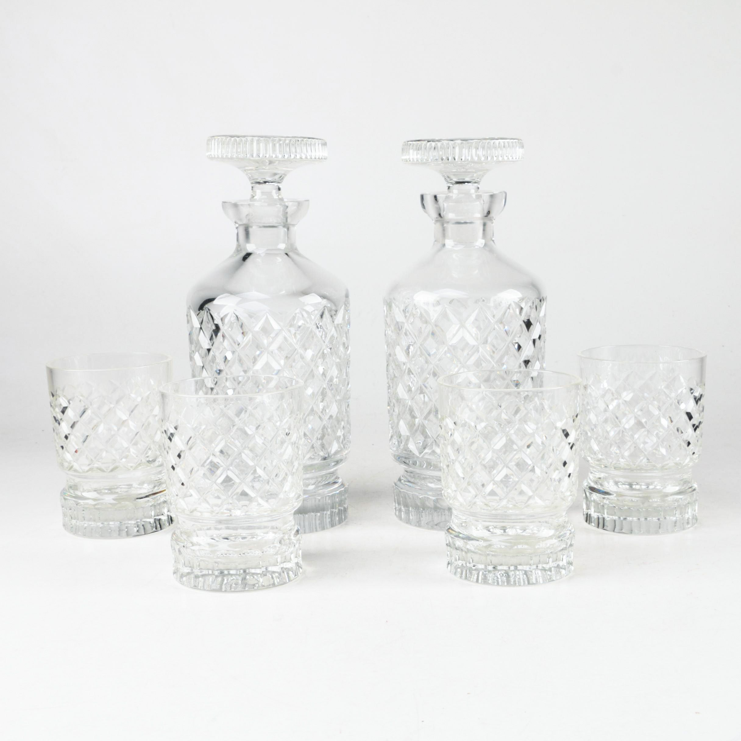Pressed Glass Decanters and Rocks Glasses