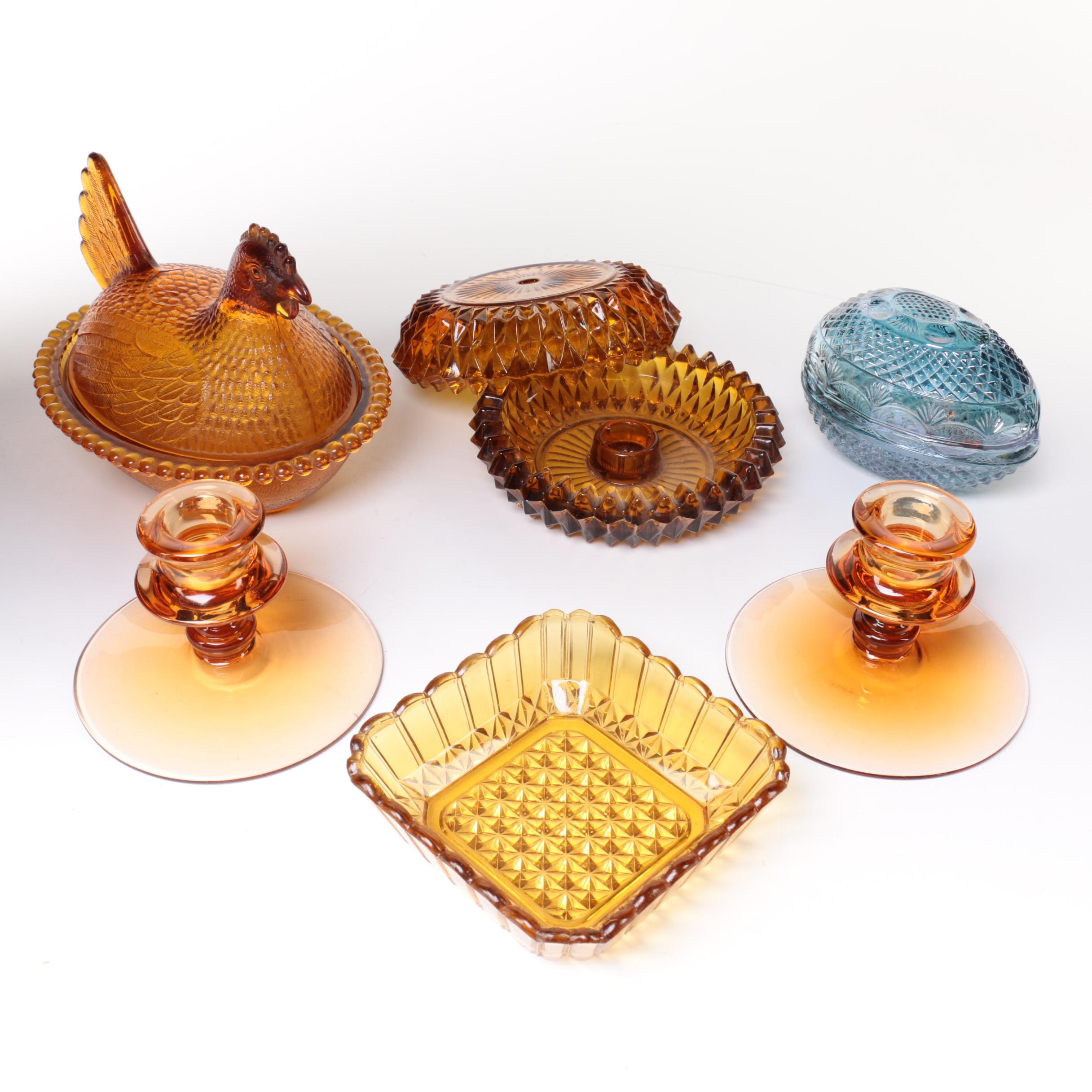 Vintage Amber and Blue Glass Decor