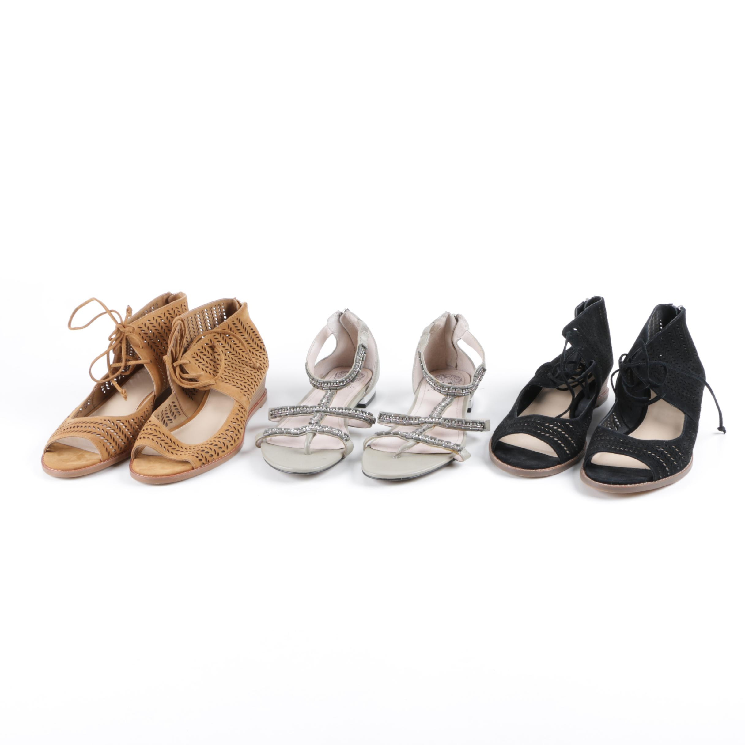 Vince Camuto Leather and Faux Leather Sandals