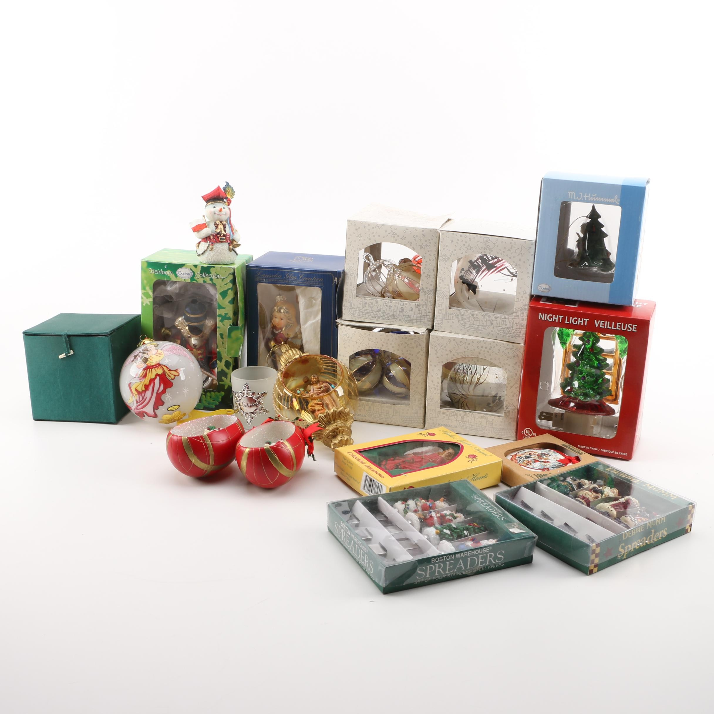 "Assorted Holiday Ornaments and Decor including ""Peaceful Blessing"" Ornament"