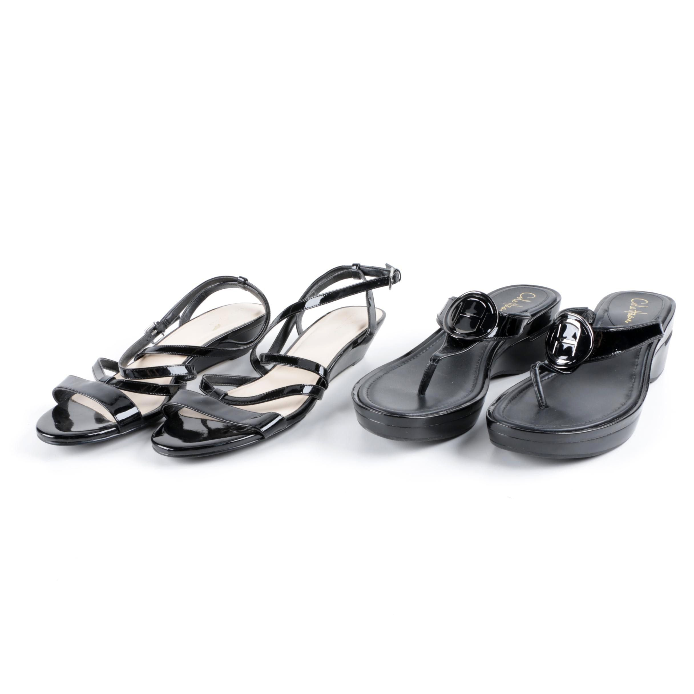 Cole Haan Black Strappy and Wedge Sandals