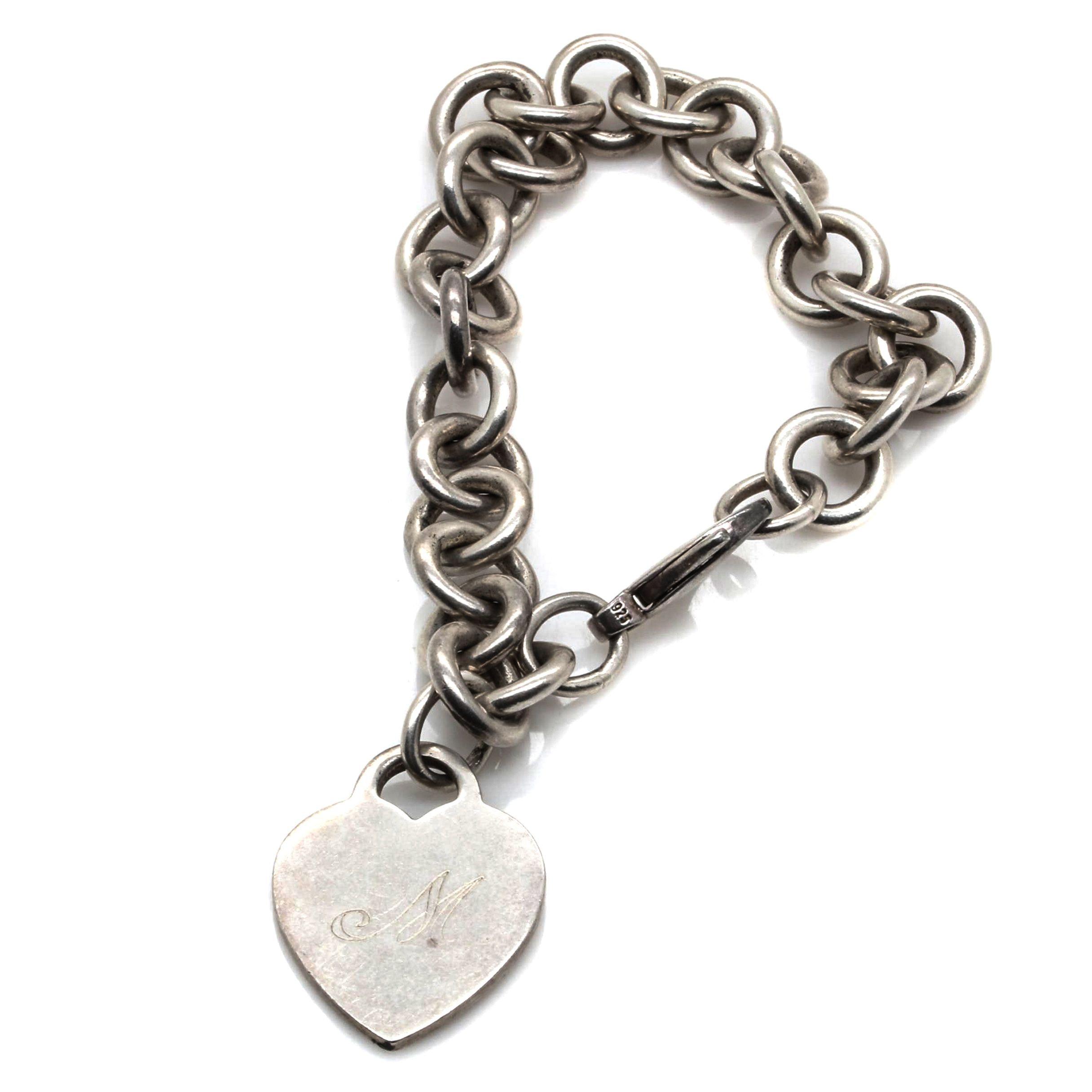 Tiffany & Co. Sterling Silver Engraved Heart Bracelet