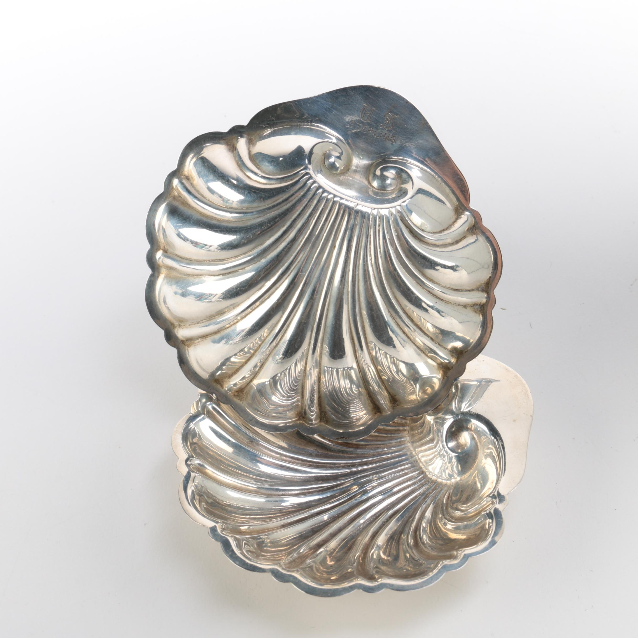 Shell-Shaped Sterling Silver Nut Dishes