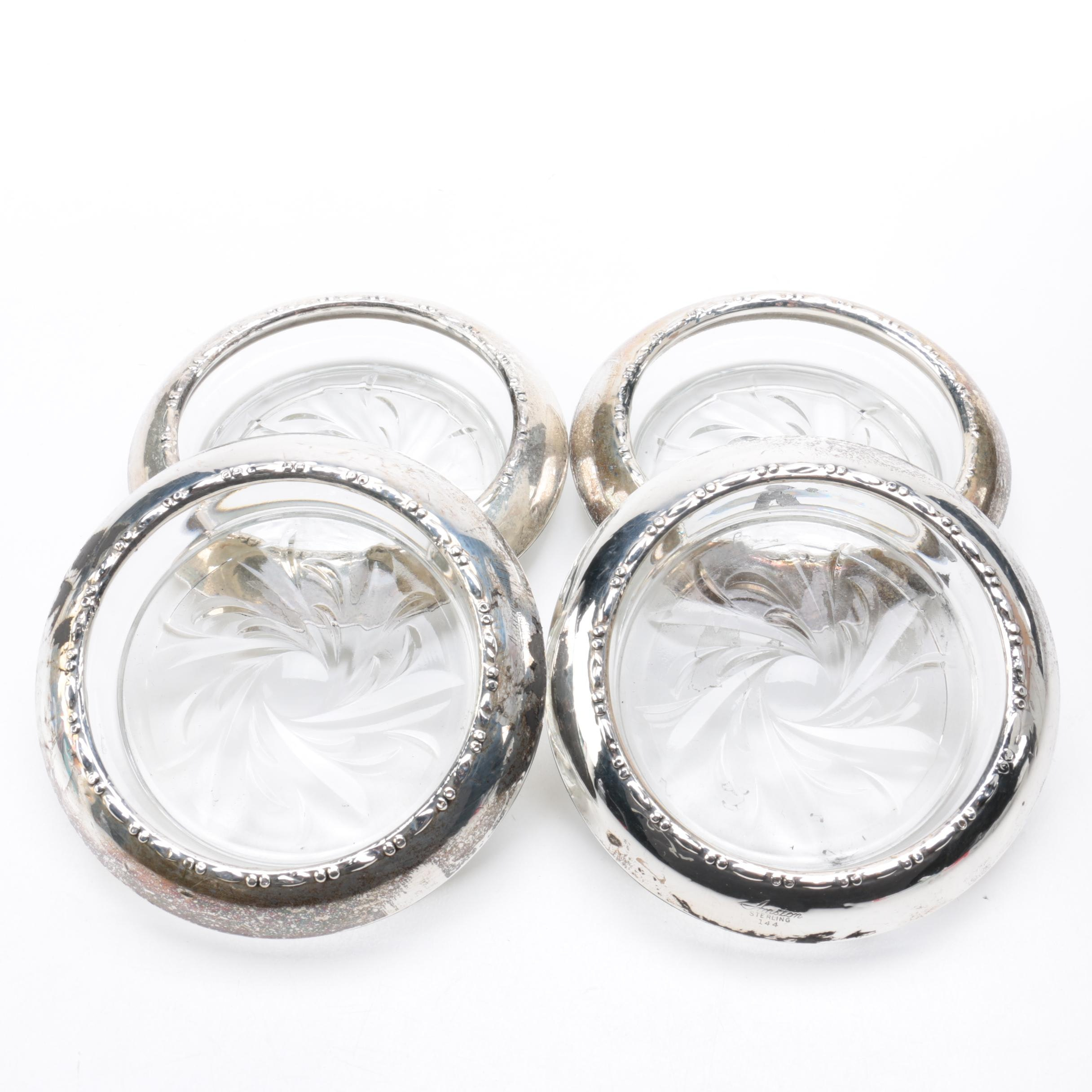 Amston Sterling Co. Sterling Silver Rimmed Glass Coasters