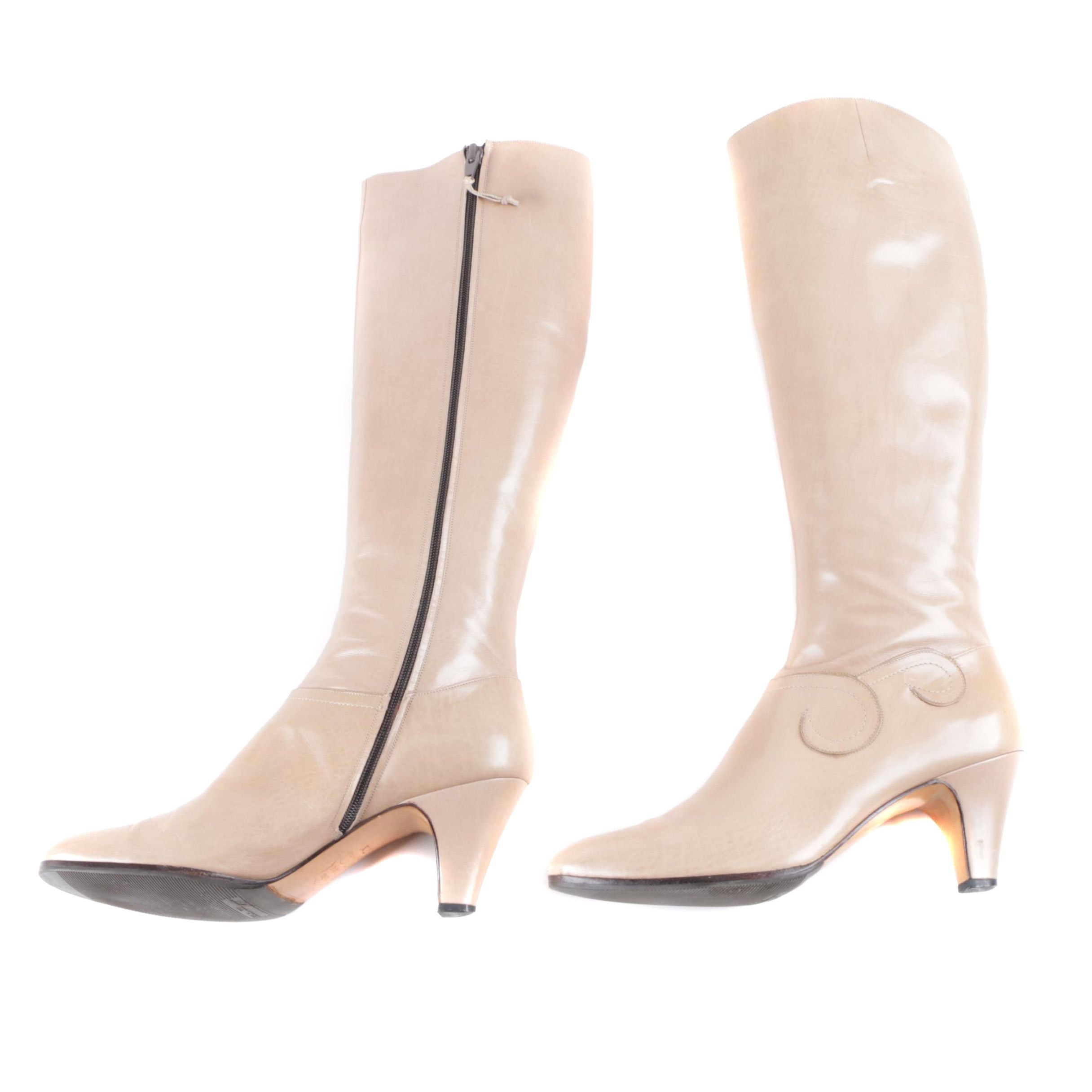 Women's Vintage Salvatore Ferragamo Knee-High Taupe Leather Boots