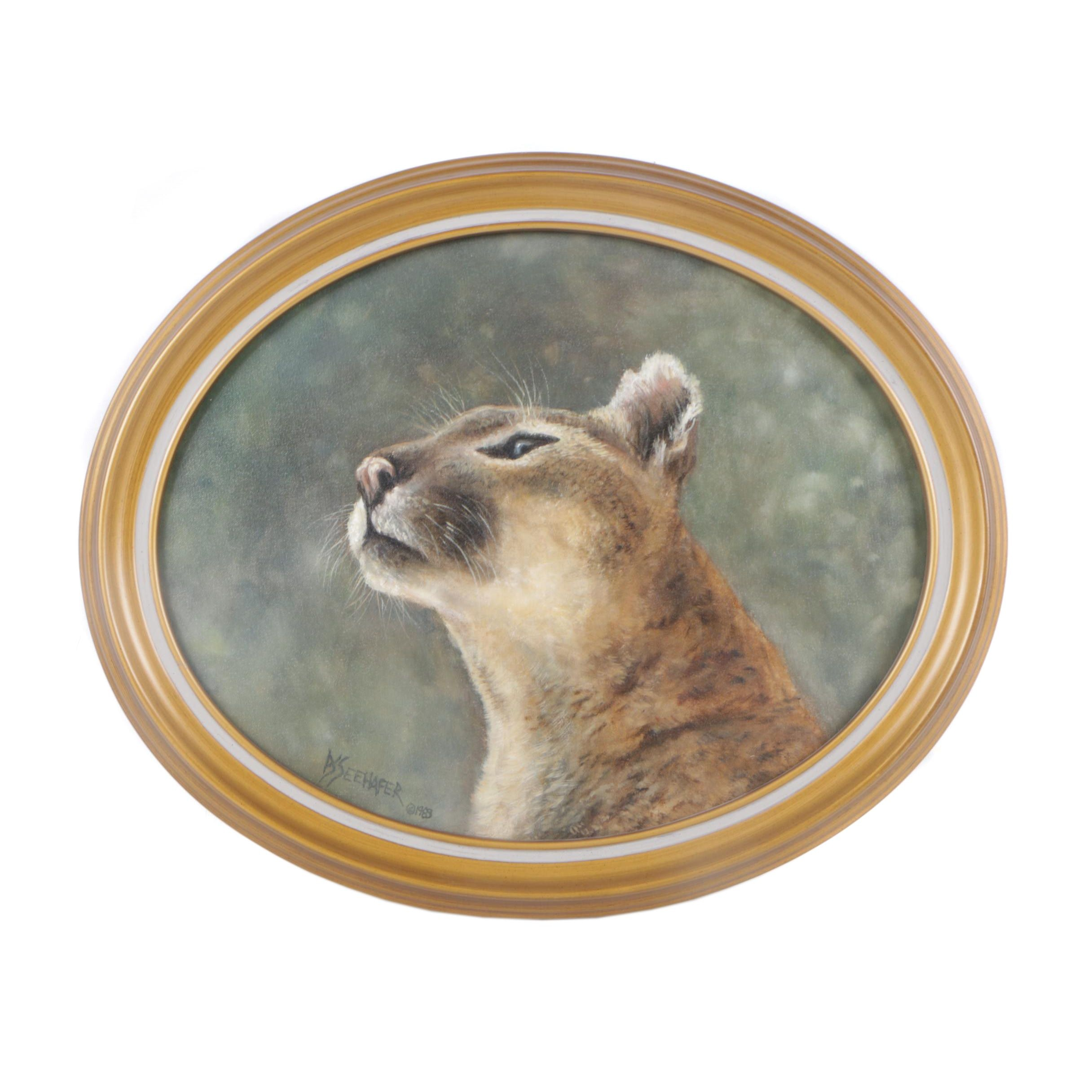 DS Seehafer 1983 Oil Painting of a Cougar