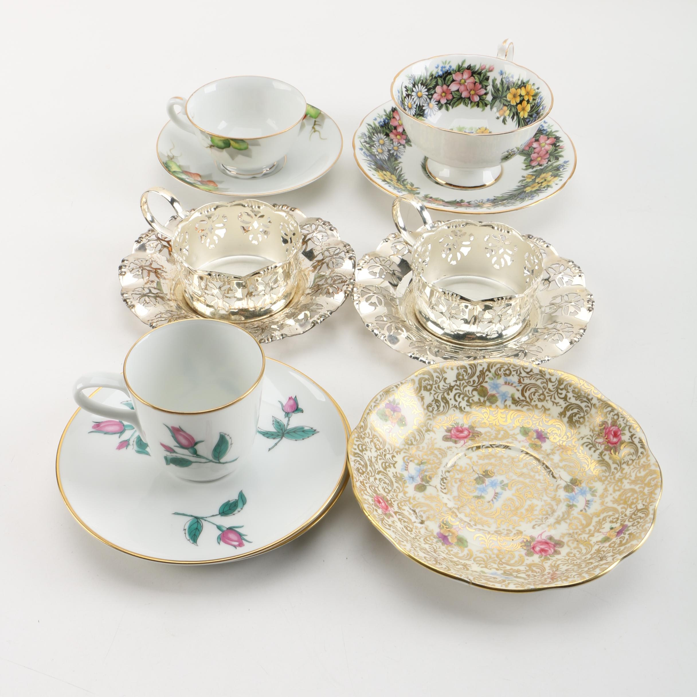 & Silver Plate Demitasse Cup Holders and Assorted Tea Cups and Saucers ...
