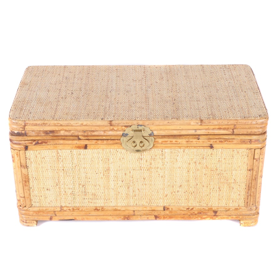 Auto Antique Wicker Trunks : Vintage bamboo and wicker cedar lined chest ebth
