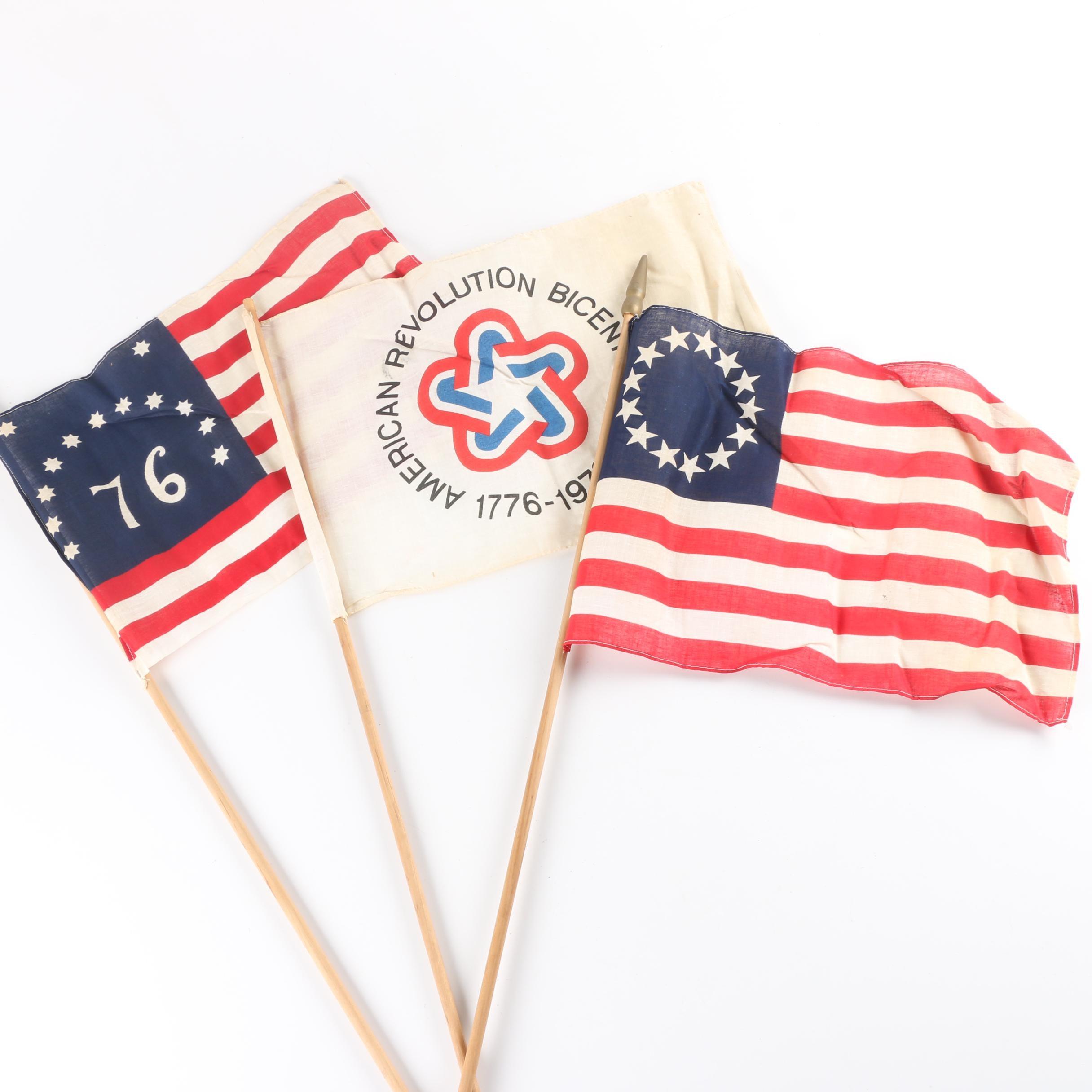 Thirteen Star American Flags and Bicentennial Flag on Dowels
