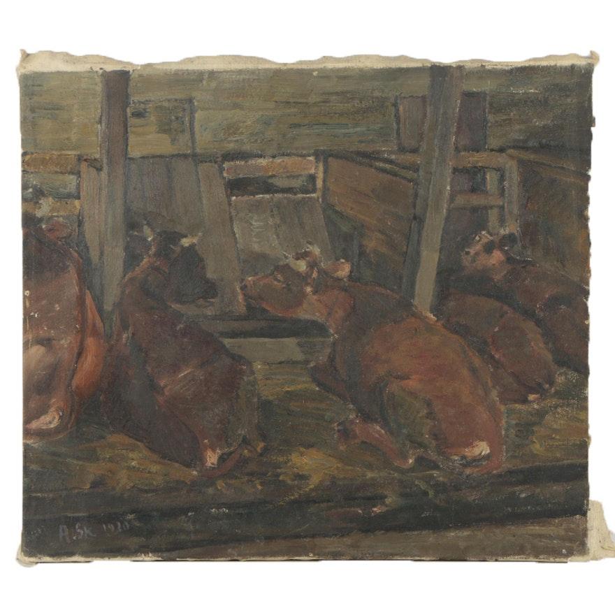 Axel Skjelborg 1920 Oil Painting