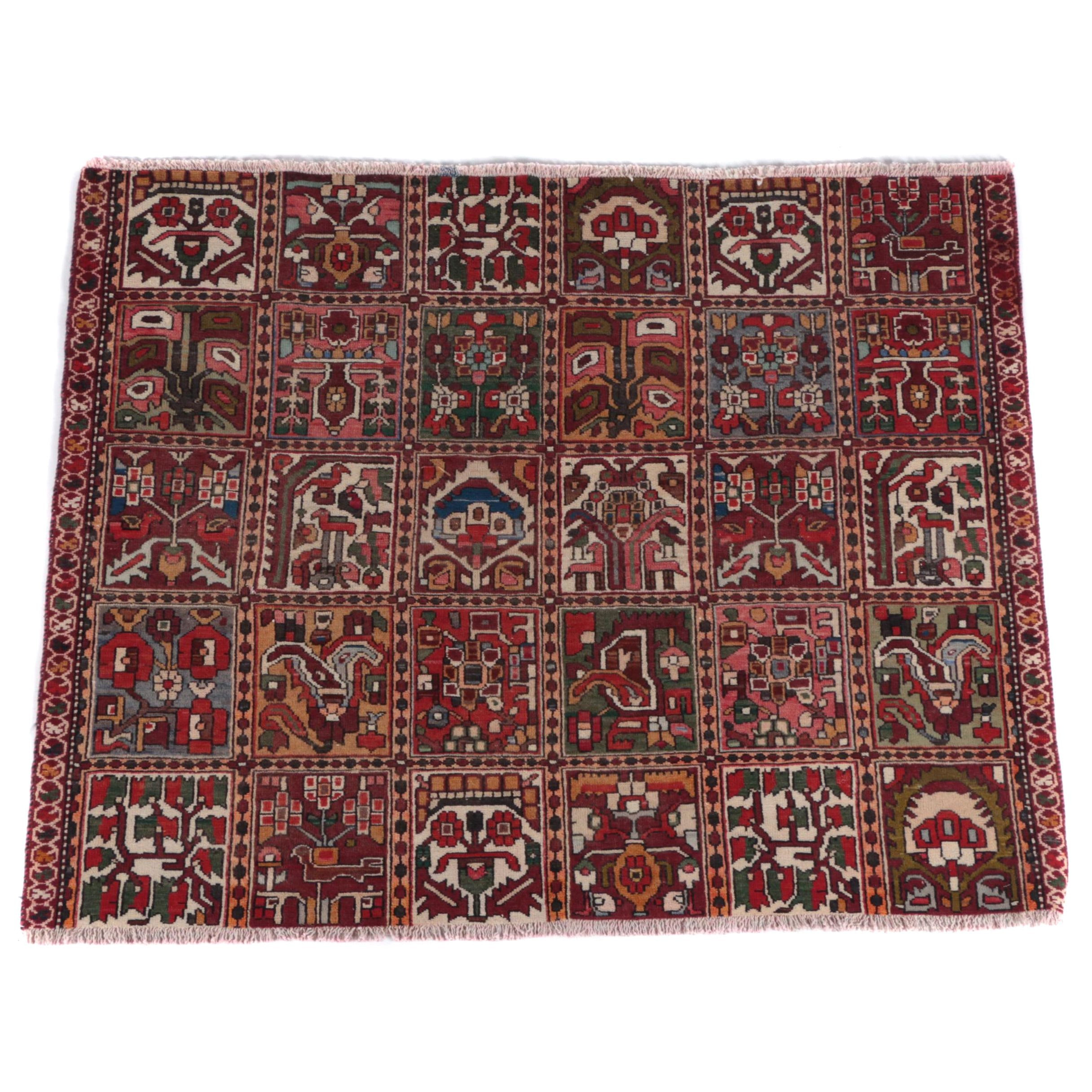 Hand-Knotted Persian Chahar Mahal Rug Remnant