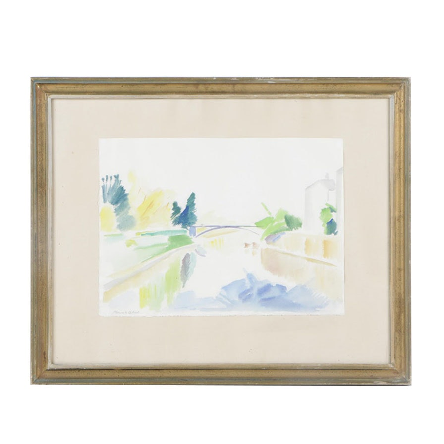 Henrik Bloch Late 20th Century Watercolor Painting of River Scene