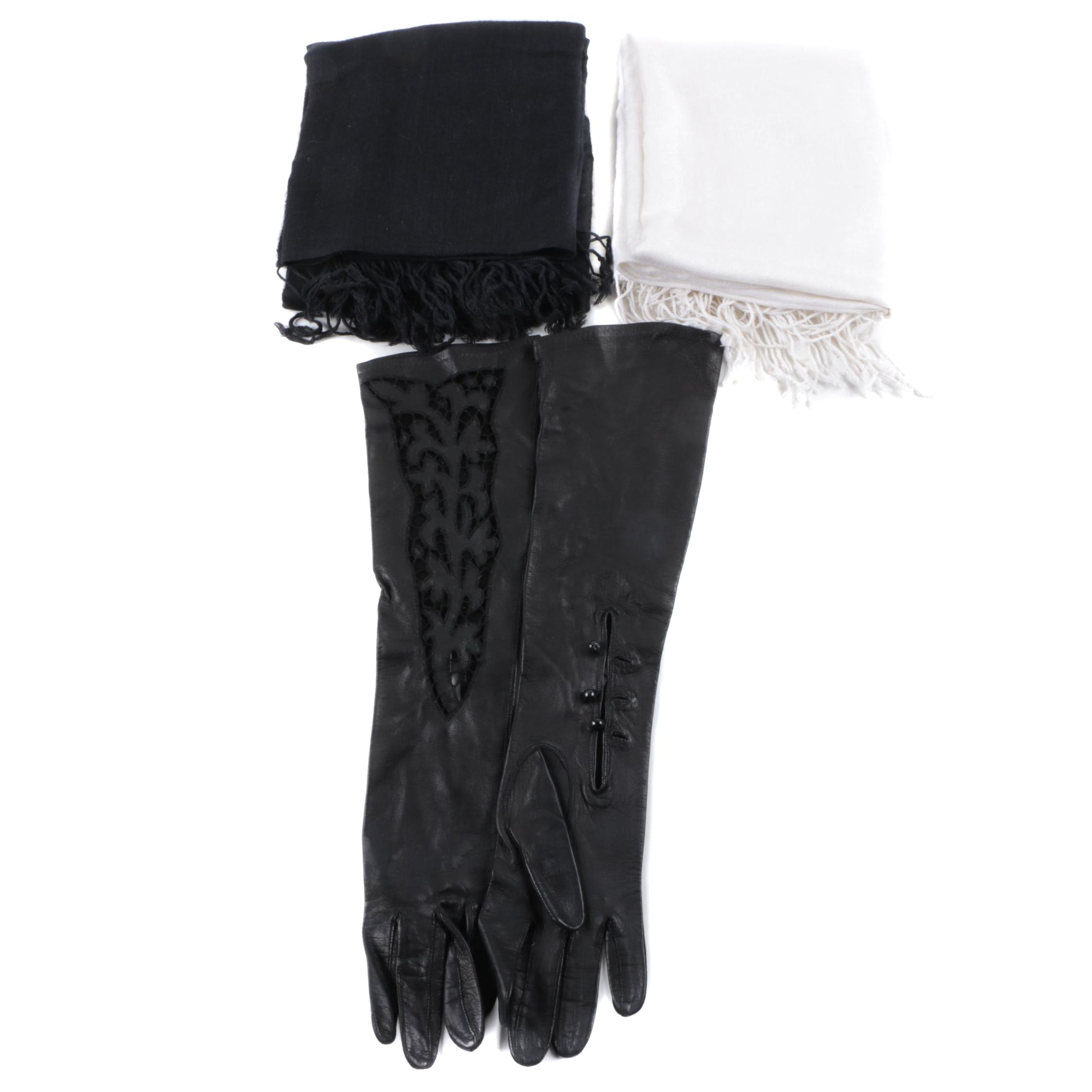 Pashmina Style Scarves and Leather Gloves