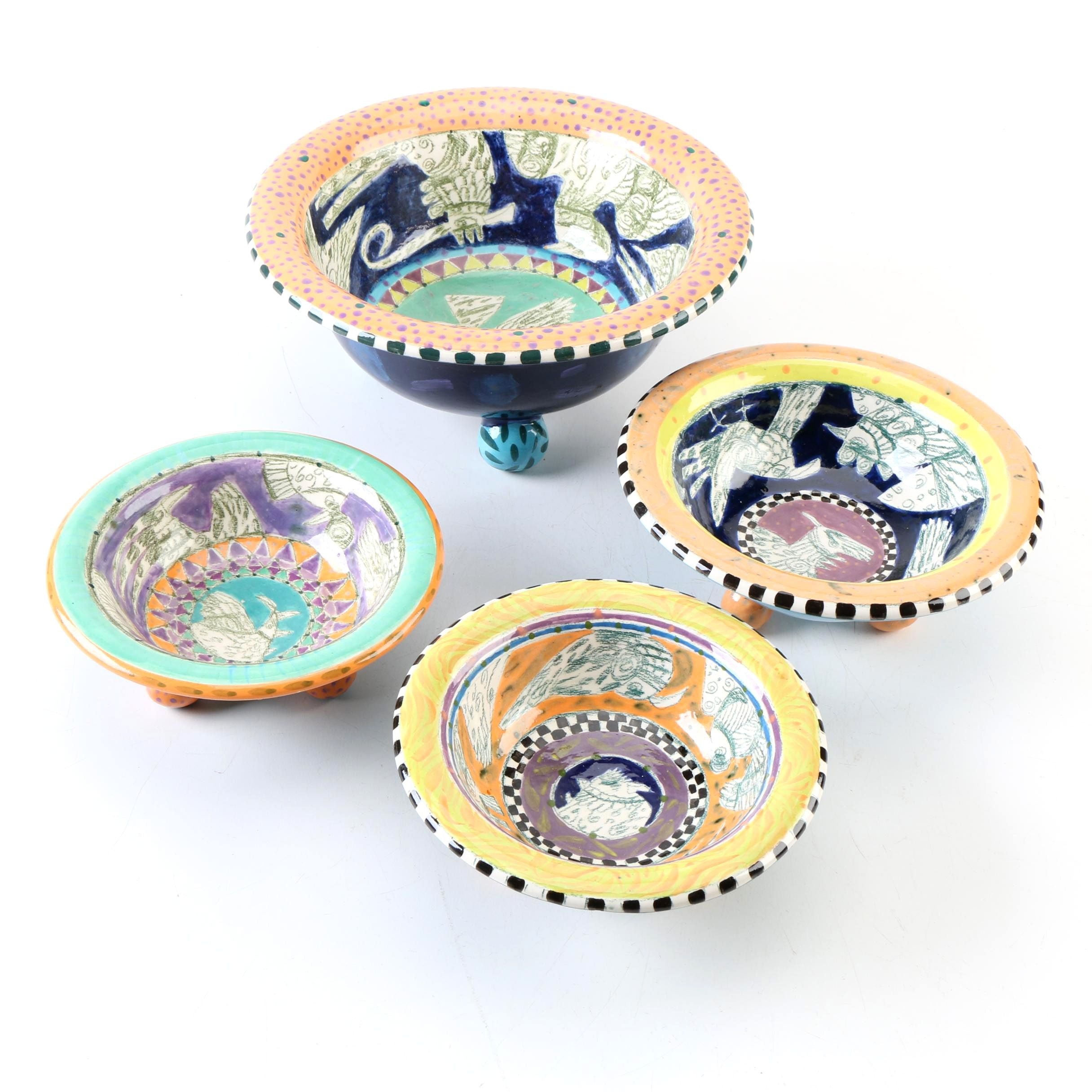 Set of Hand-Painted Art Pottery Bowls by Linda Hojem