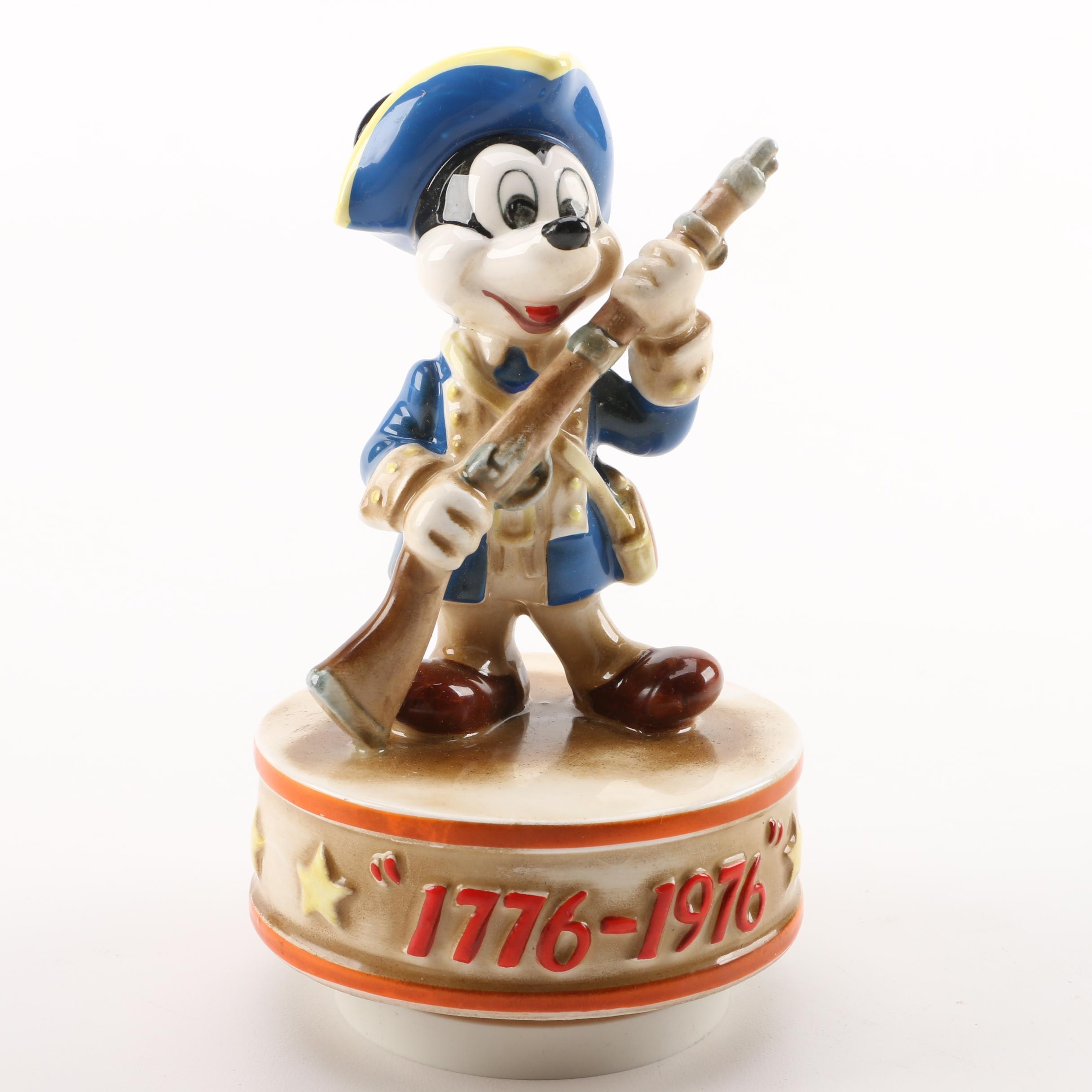 "Schmid Bros. Mickey Mouse as ""Yankee Doodle"" U.S.A. Bicentennial Music Box"