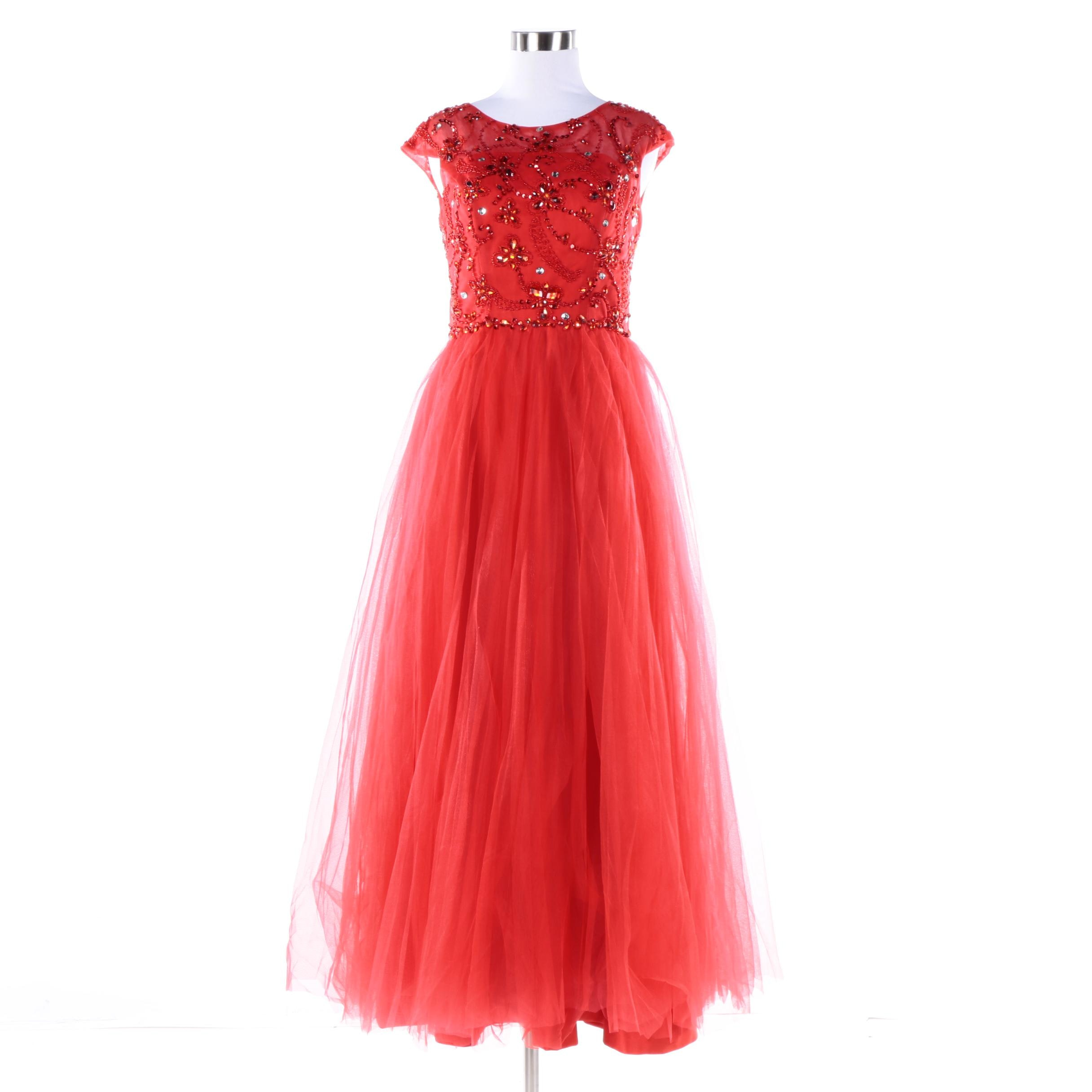 Embellished Red Gown with Full Tulle Skirt
