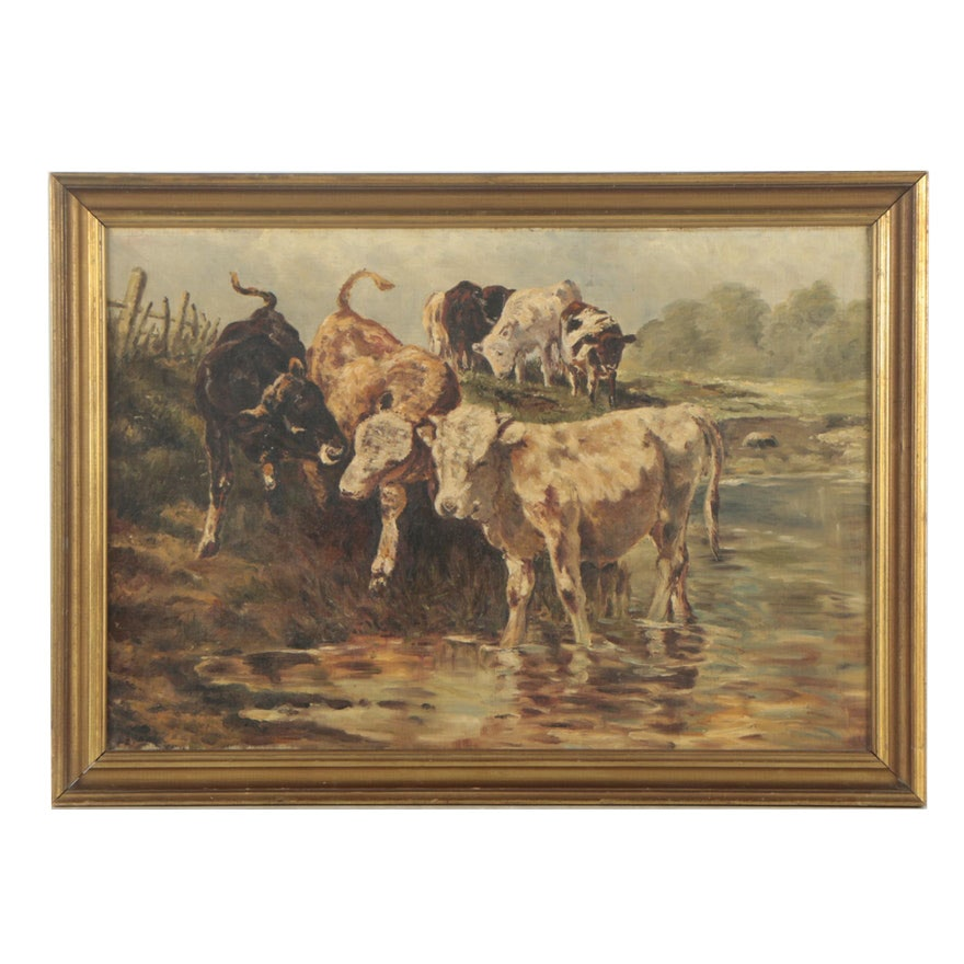 Oil Painting of Cows at the Water
