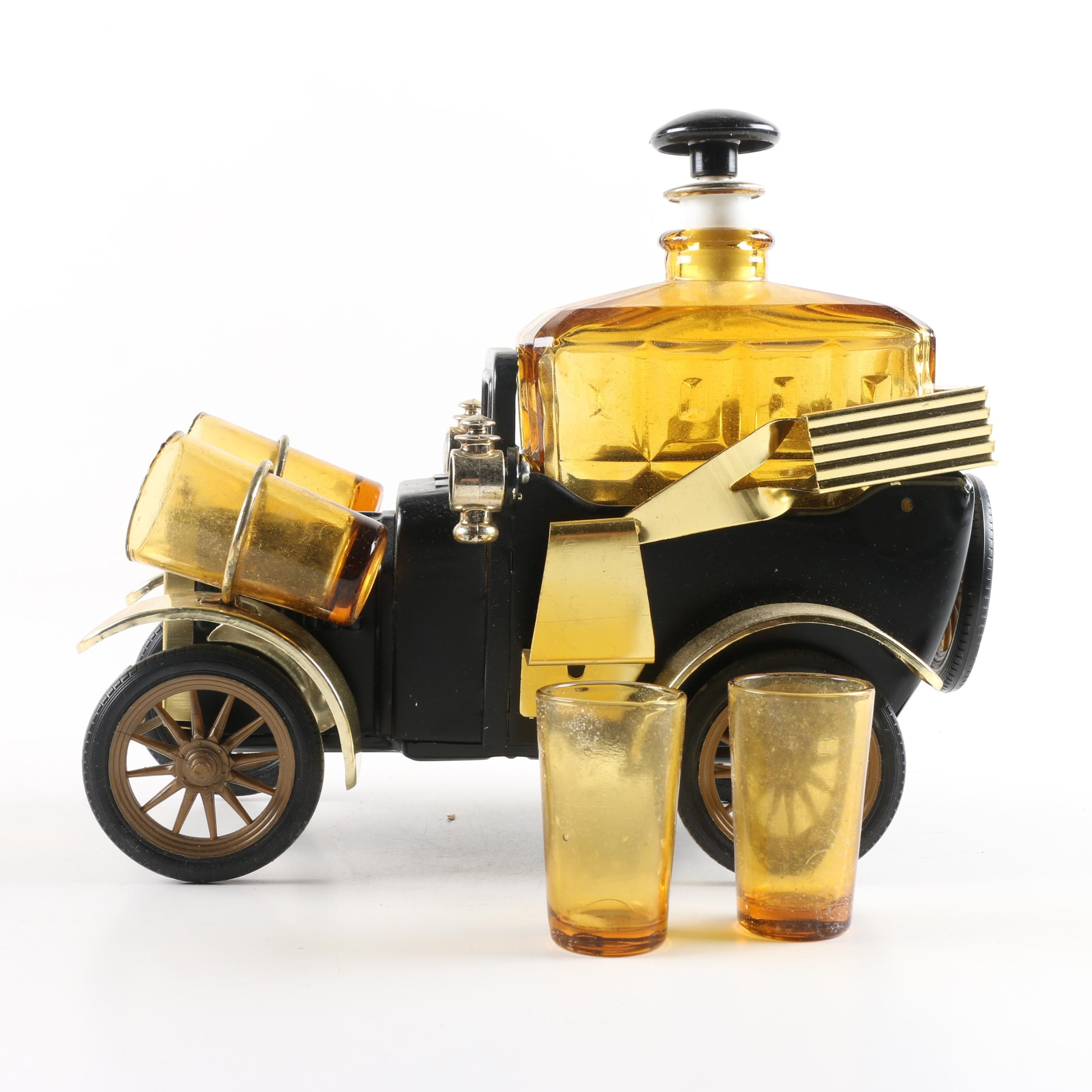 Musical Antique Style Car Bar with Glass Decanters and Shot Glasses