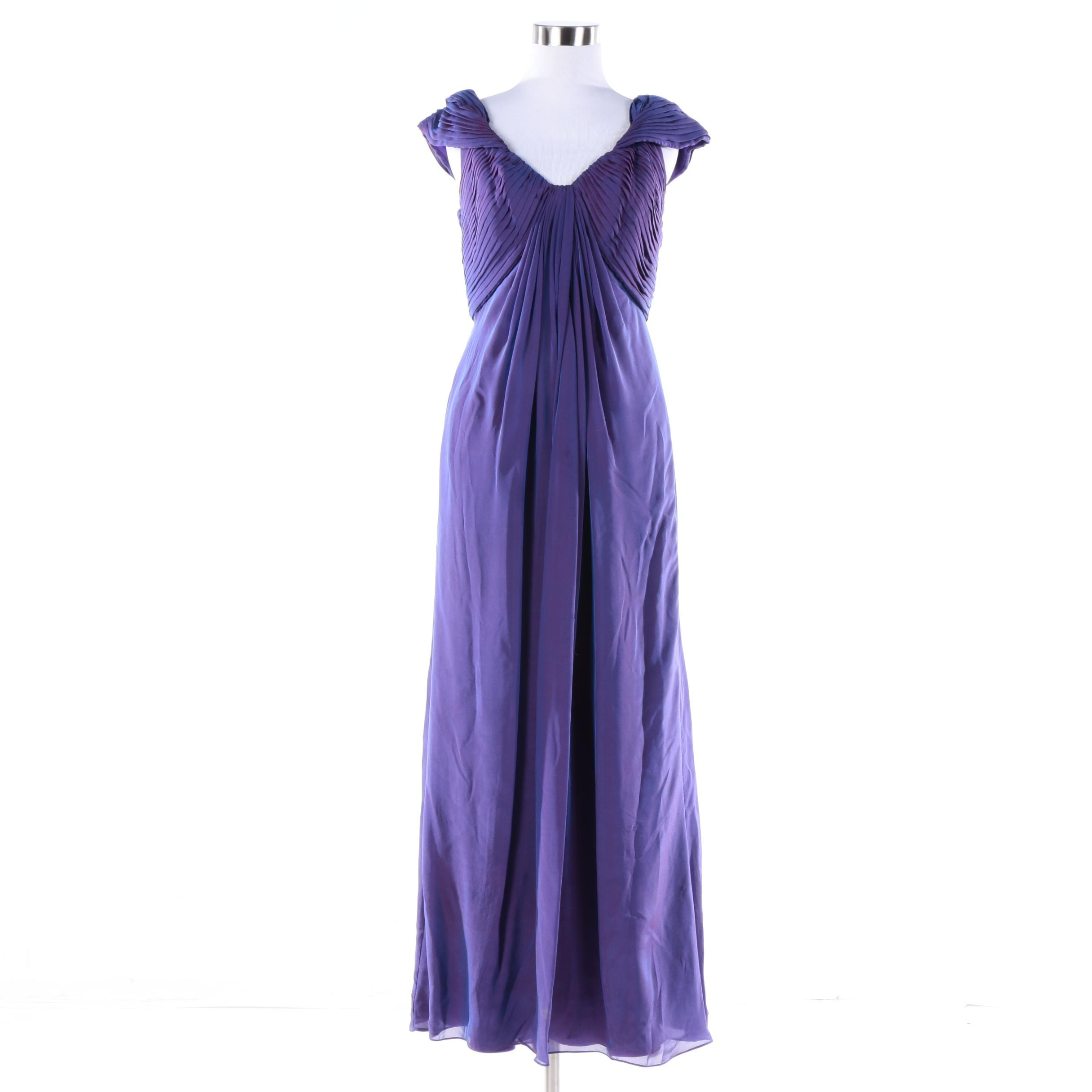 Tadashi Collection Iridescent Purple Silk Blend Gown
