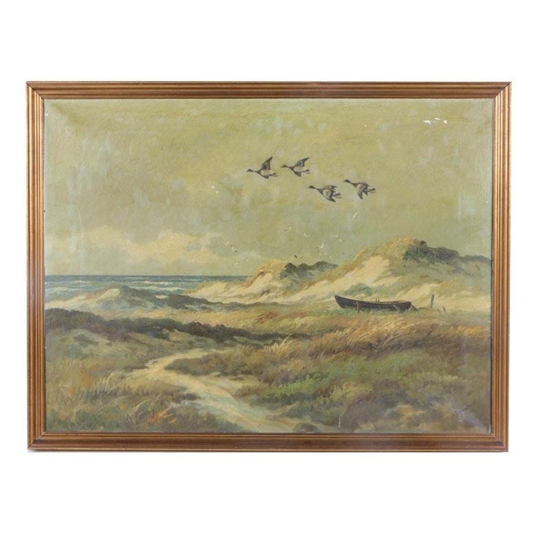 Kongslev Oil Mid Century Painting of Scandinavian Beach Landscape