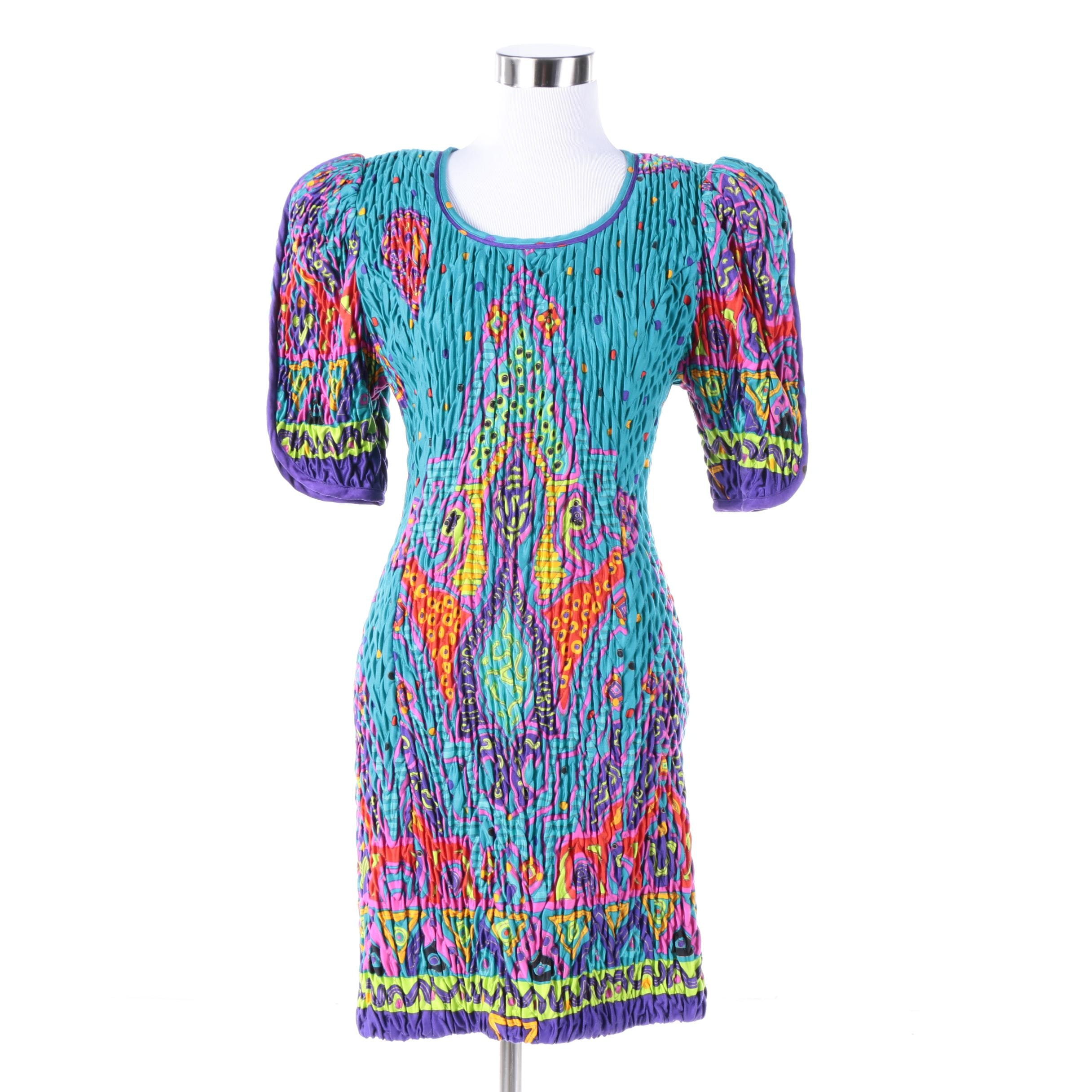 Circa 1980s Jeanne Marc Multicolored Print Dress