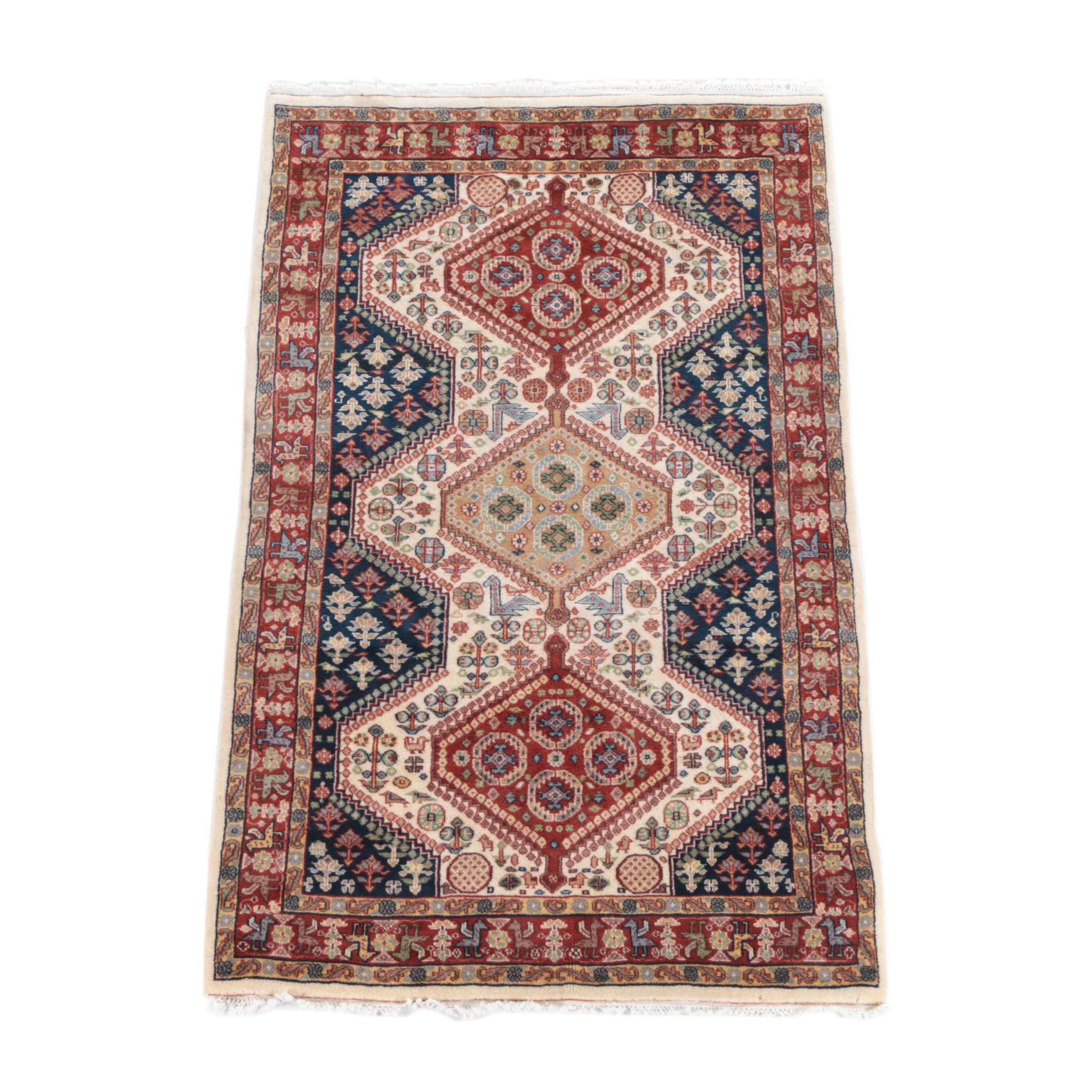 Hand-Knotted Pakistani Bokhara-Style Area Rug