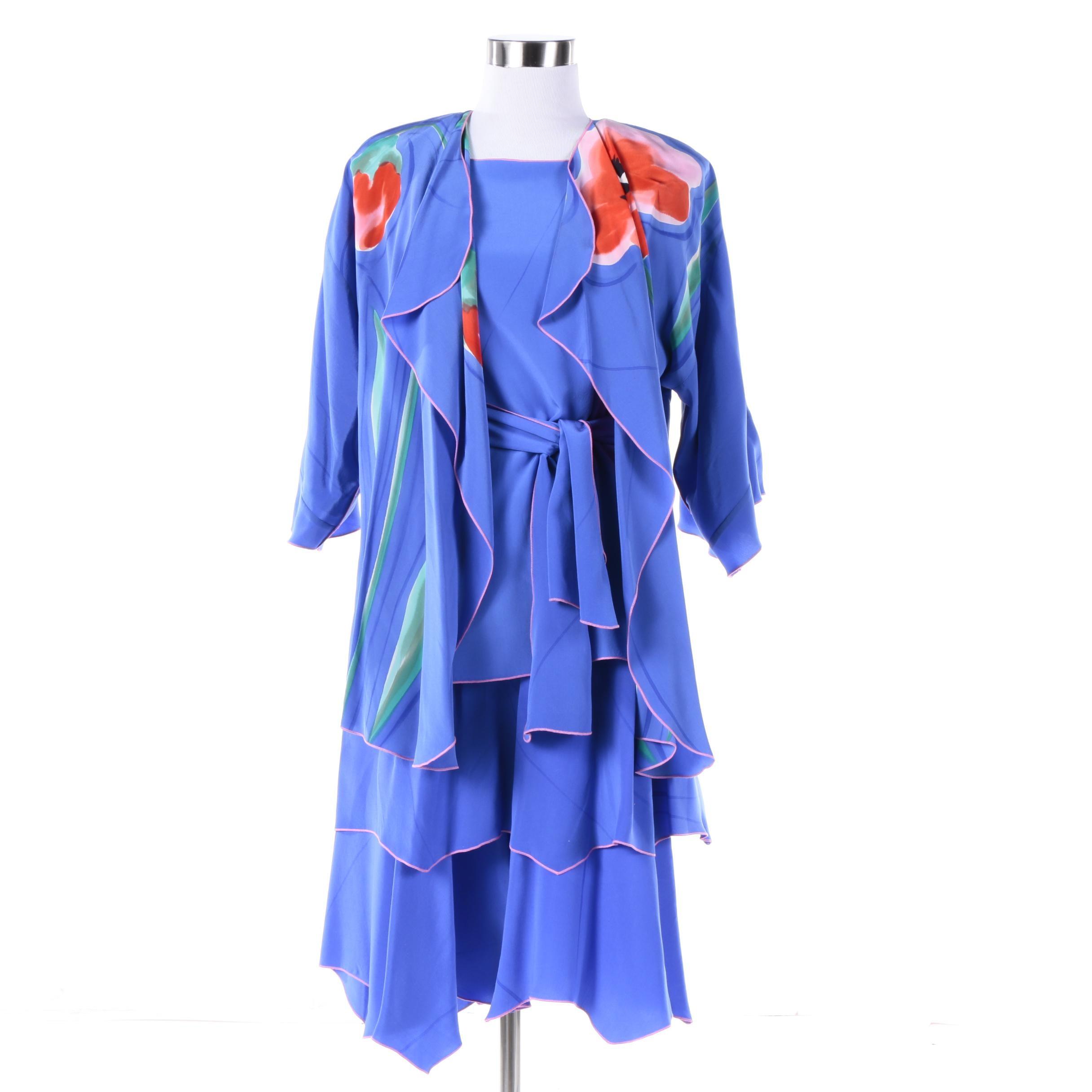 Yolanda Lorente Hand-Painted Floral Silk Three-Piece Ensemble
