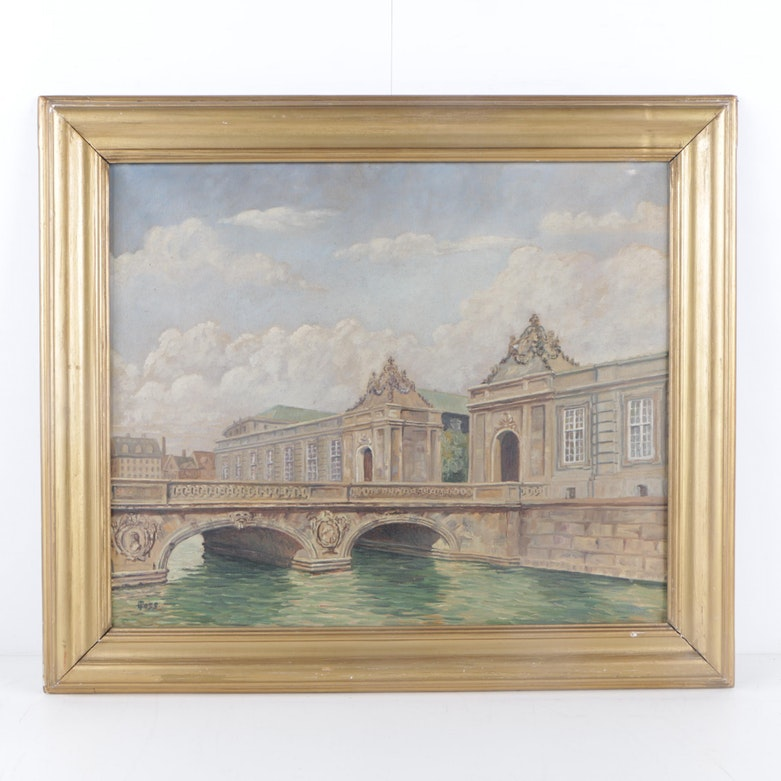 L. Poss Mid Century Oil Painting of European Cityscape with Canal