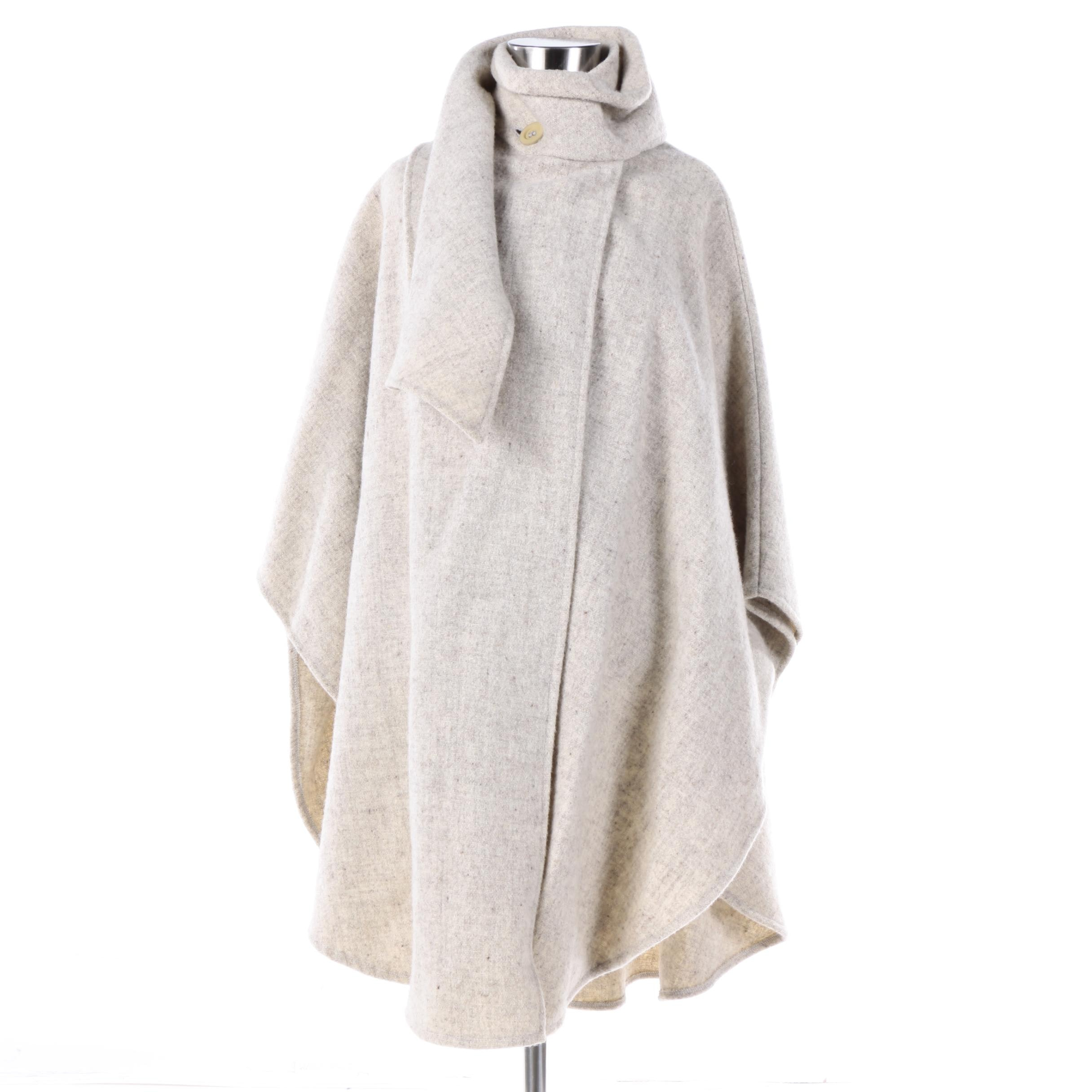 Women's Rusk & Finch Wool Cape with Wrap Collar
