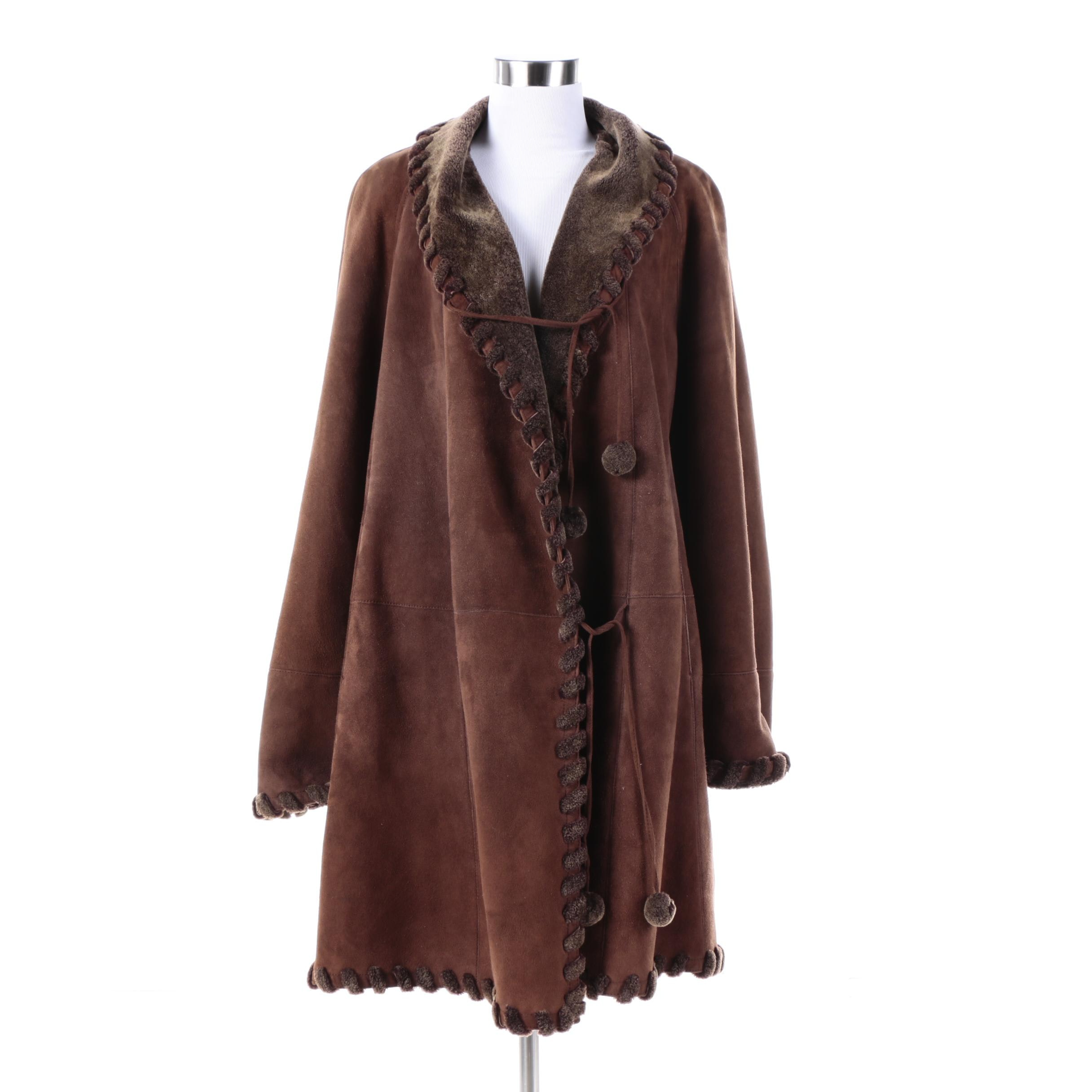 Women's Christia for Hana K Brown Suede Coat with Faux Fur Lining