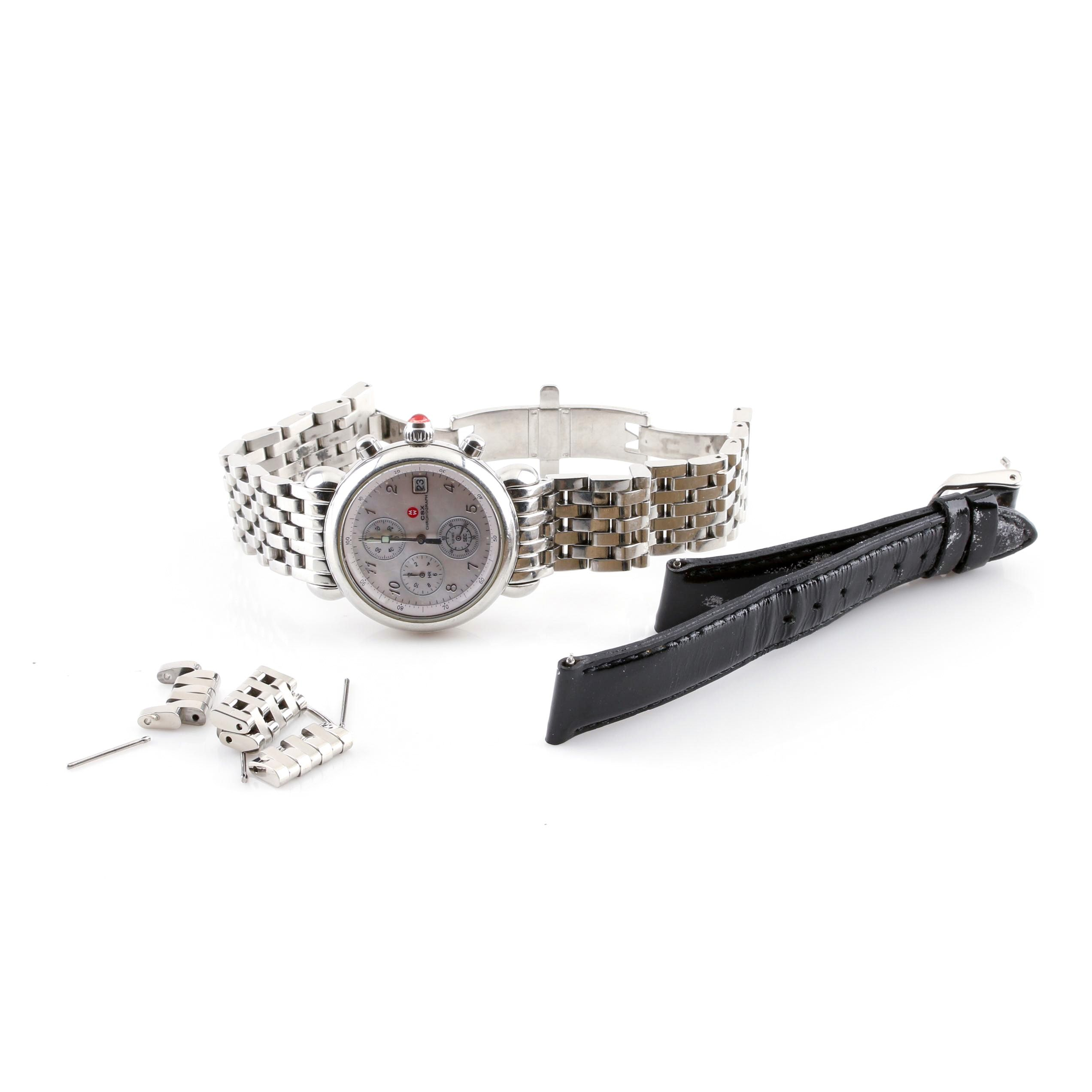 Michele Watch Co Stainless Steel and Mother of Pearl Chronograph Wristwatch