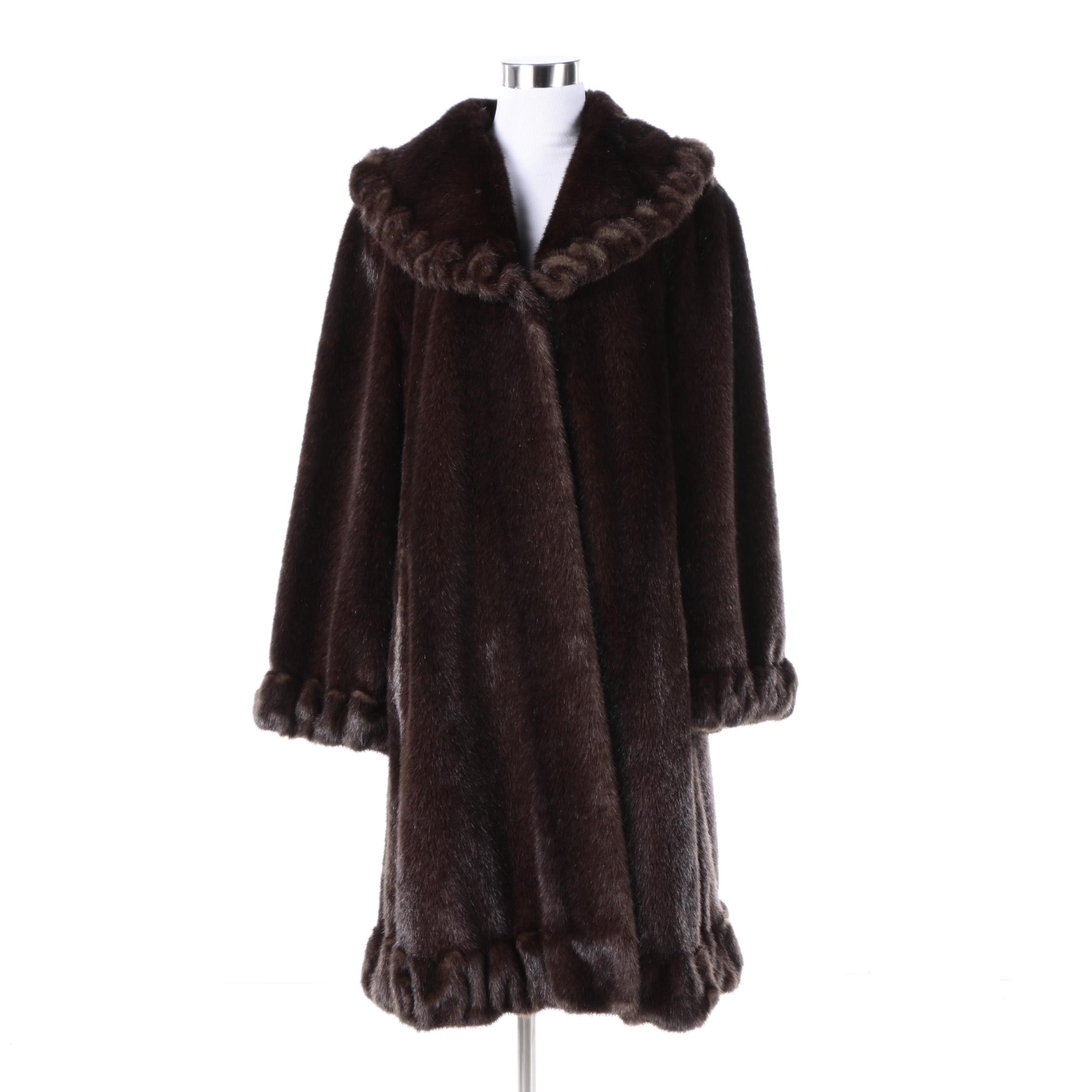 Women's Jones New York Faux Fur Coat with Ruffled Trim