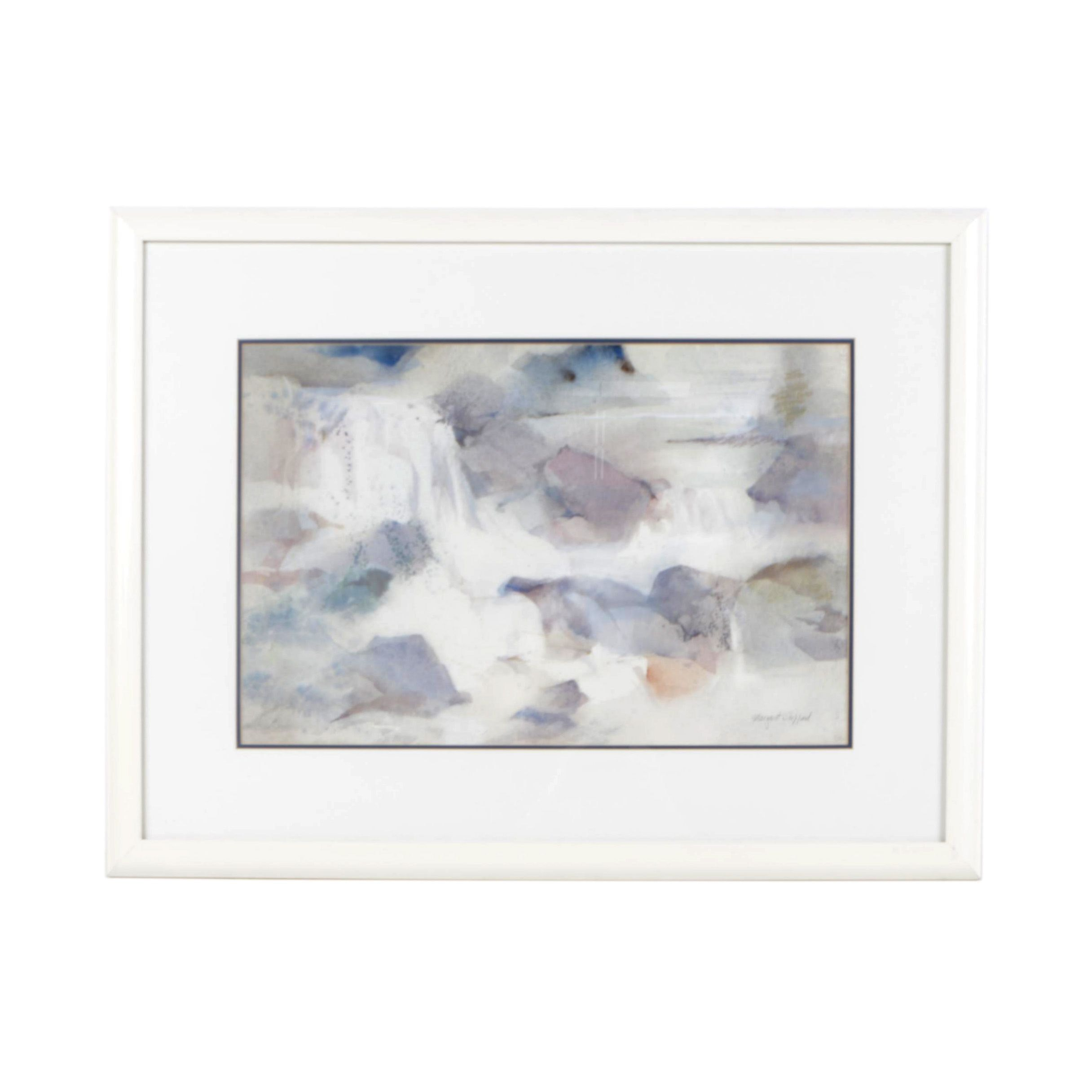 """Margaret Sheppard Abstract Watercolor Painting """"Misty Falls"""""""