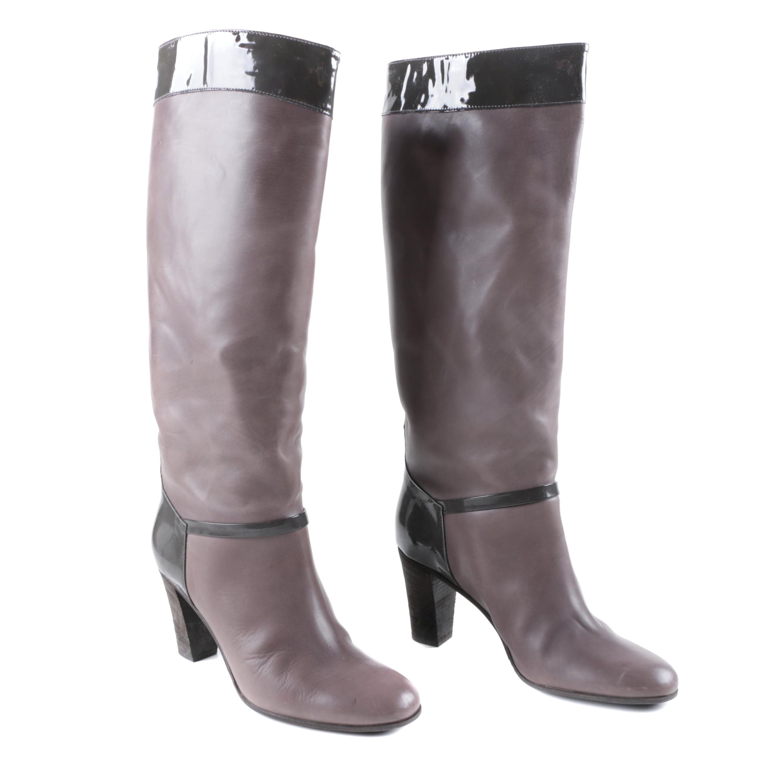 Women's J.Crew Taupe Leather High Heel Boots with Black Patent Leather Trim