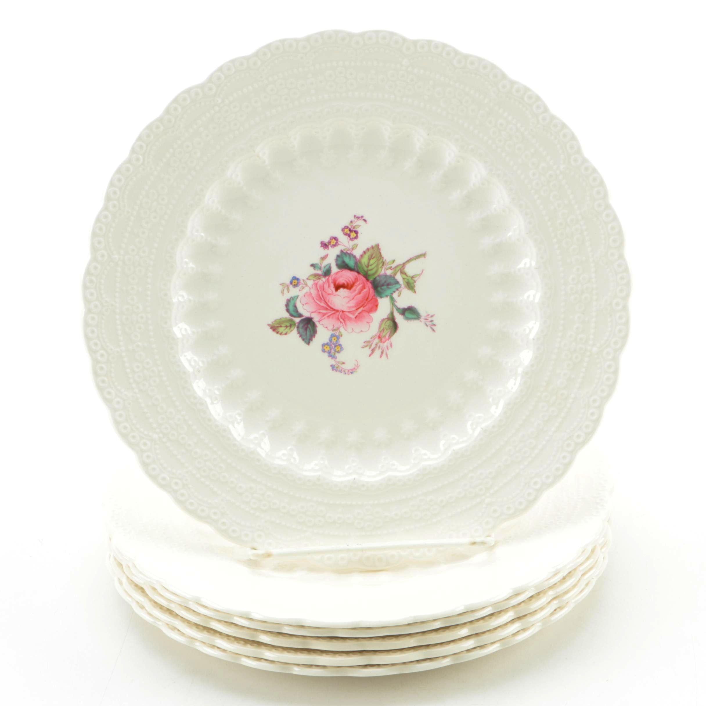"""Vintage Spode """"Billingsley Rose"""" Porcelain Salad Plates"""