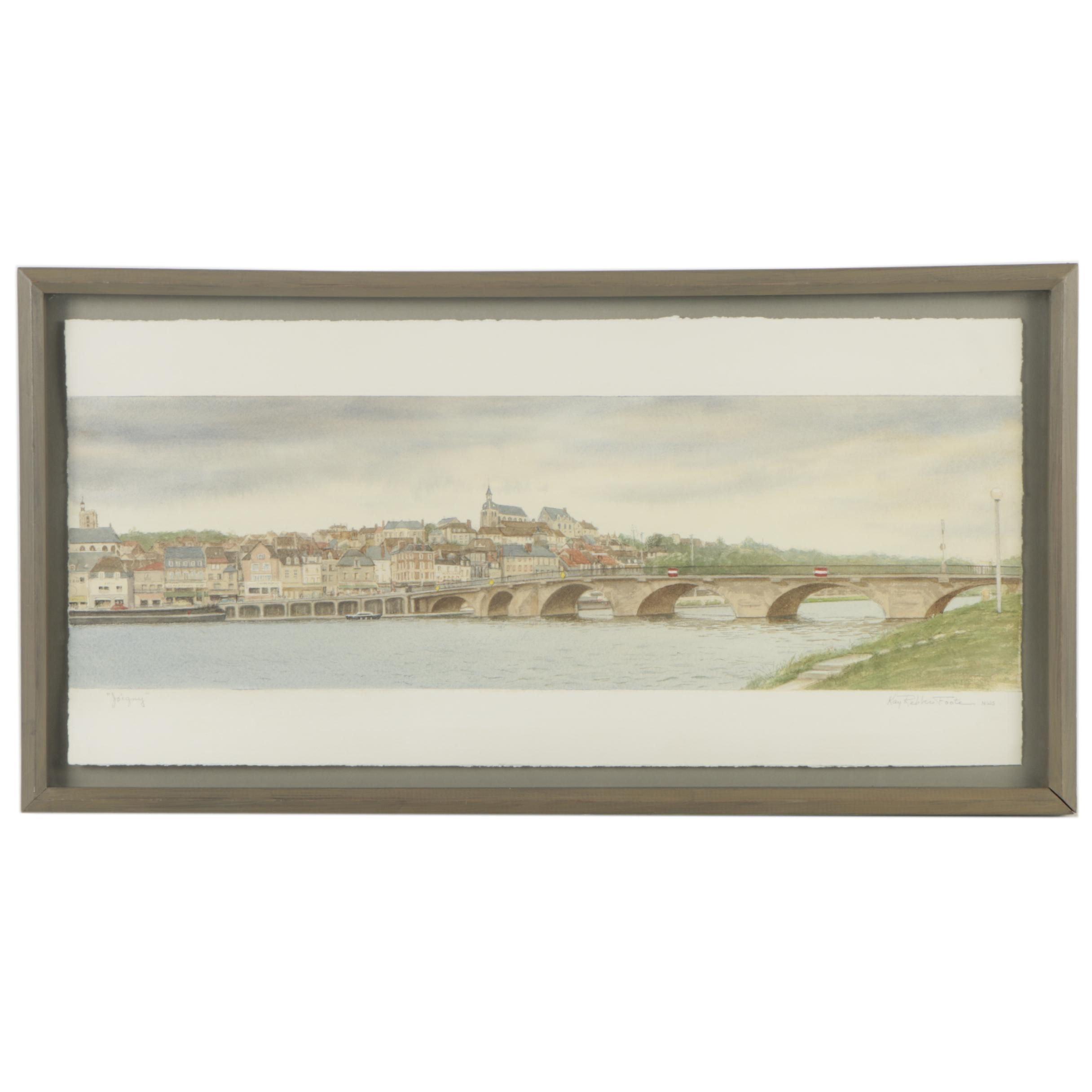 "Kay Rebber Foote Watercolor Painting ""Joigny"""