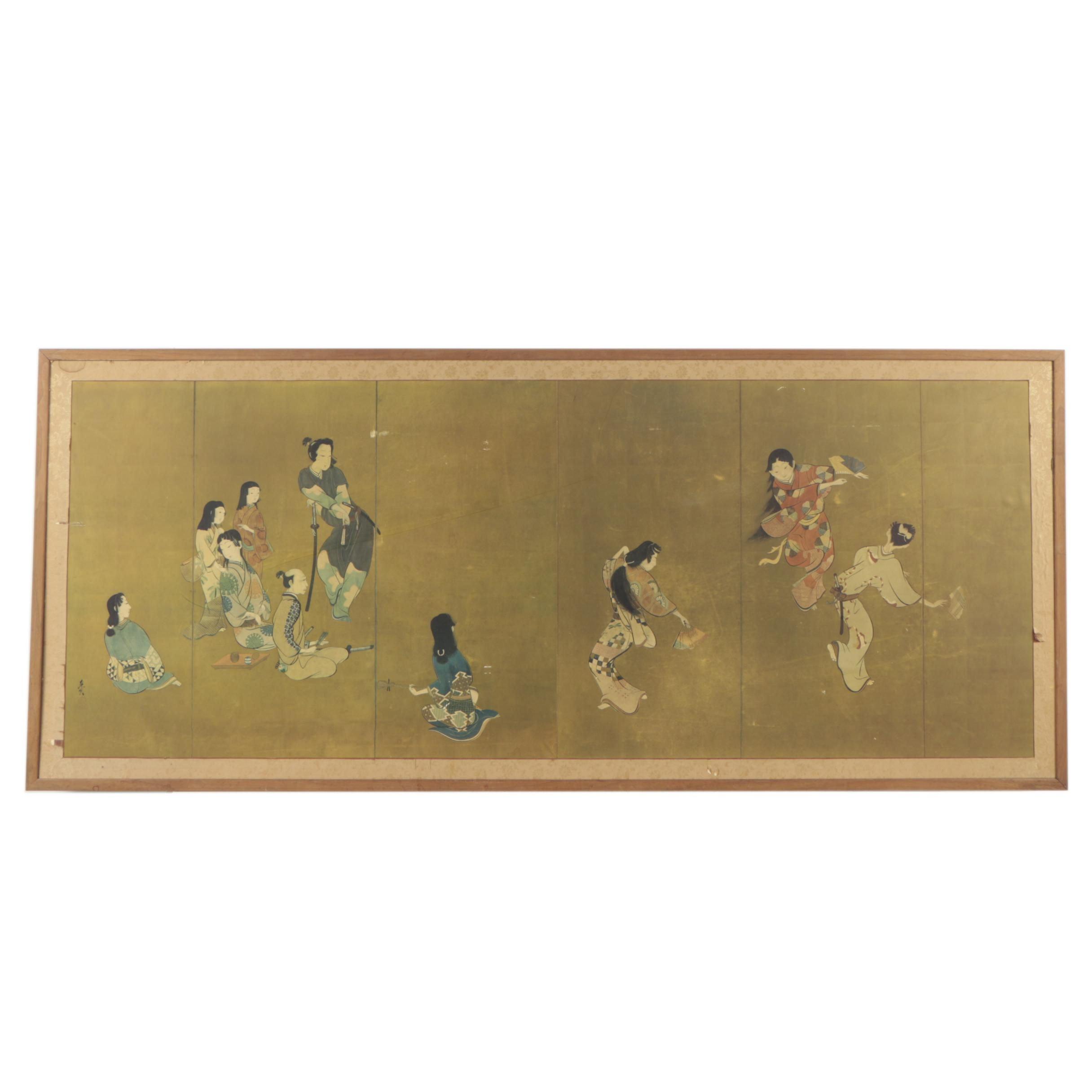 "Mid Century Print After Shibata Zeshin ""Four Accomplishments of Geisha"""
