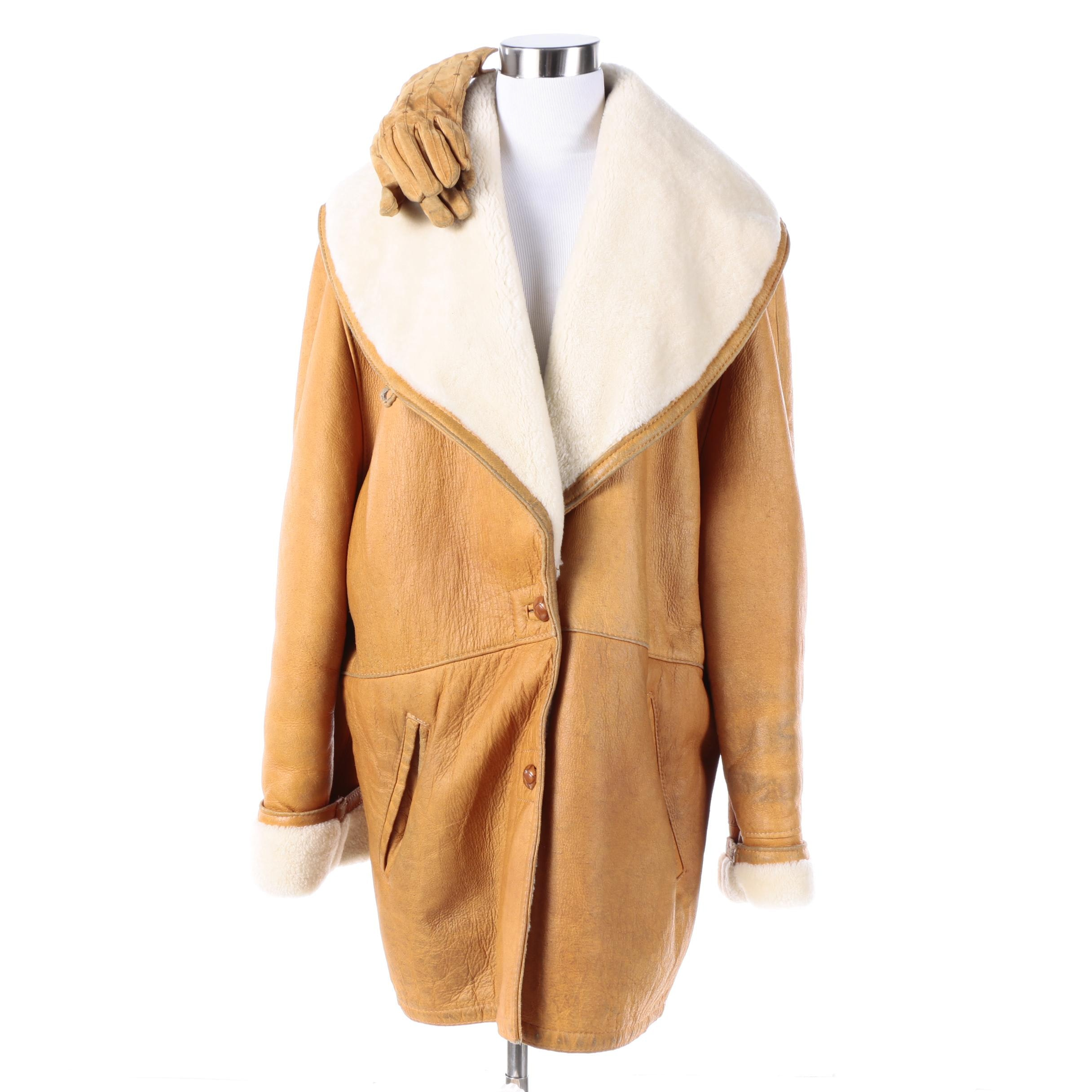 Women's Vintage Sheepskin Coat and Leather Gloves