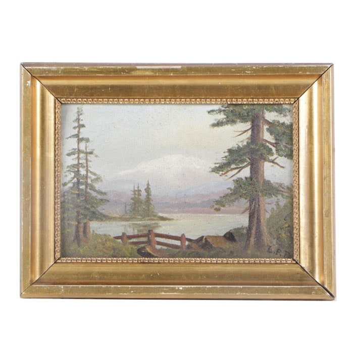 L.P.F. Mid Century Oil Painting of Mountain Landscape