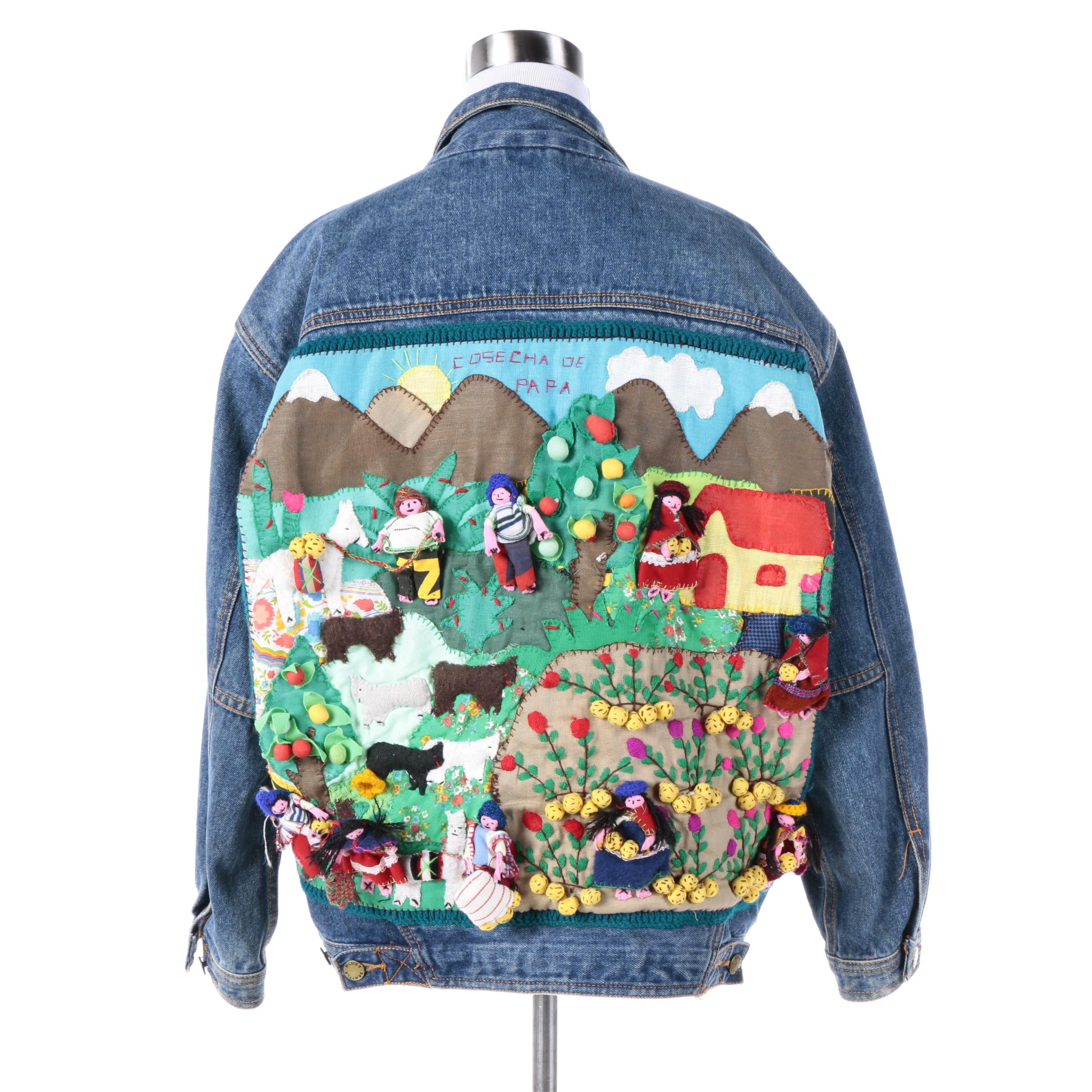"Seattle Blues Denim Jacket with Quilted Cosecha de Papa ""Potato Harvest"" Scene"